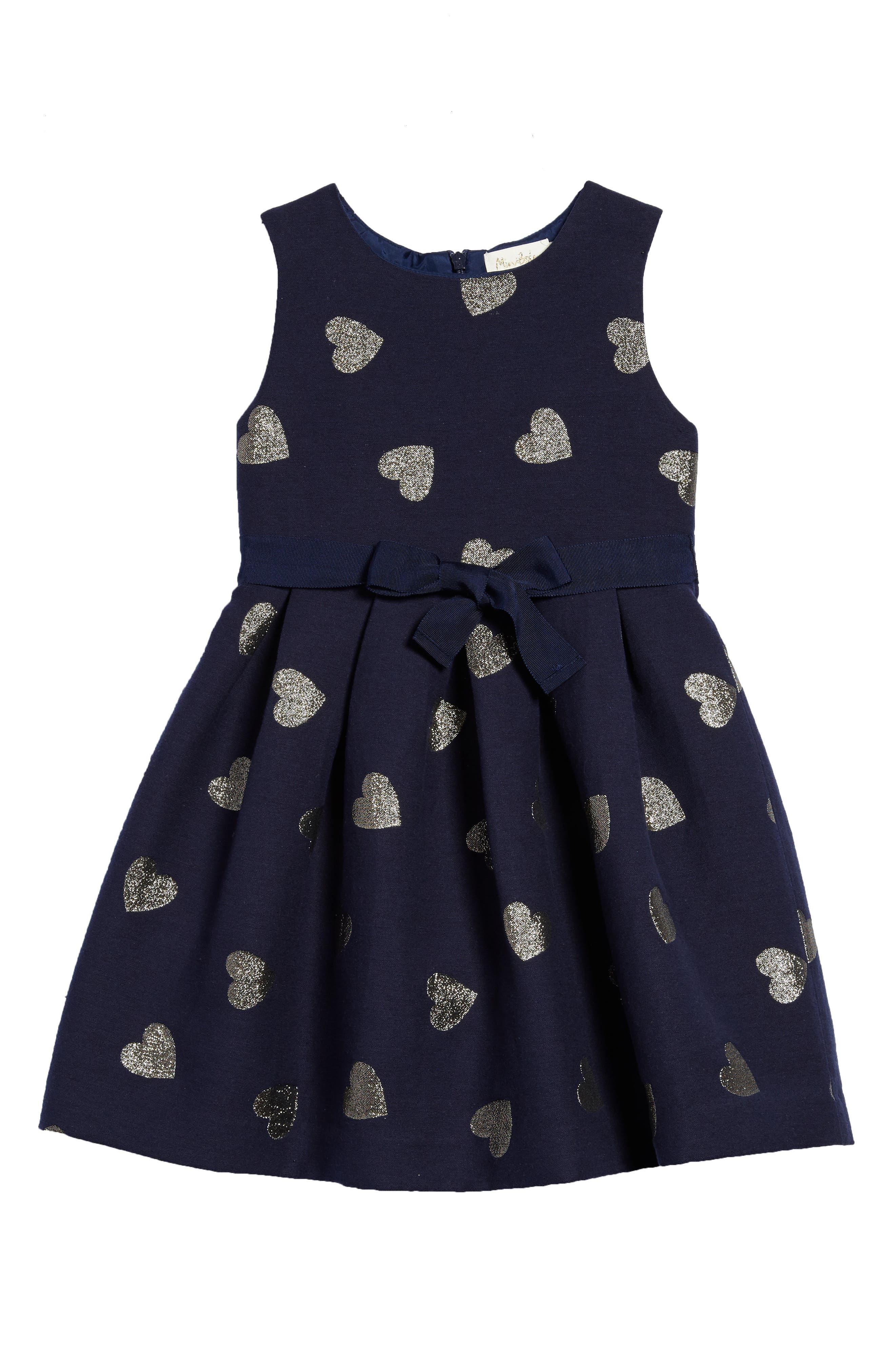 Mini Boden Heart Jacquard Dress (Toddler Girls, Little Girls & Big Girls)
