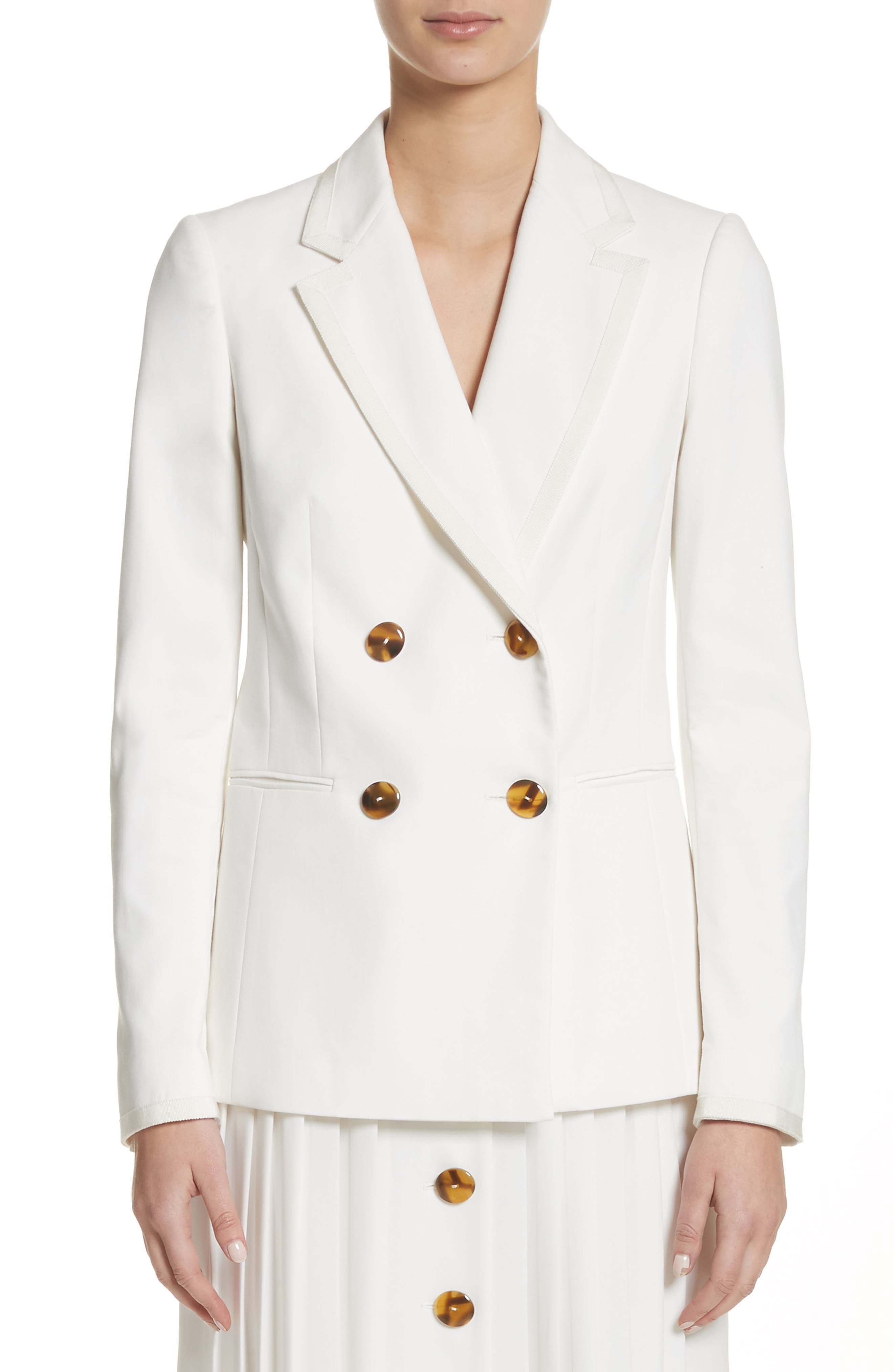 Double Breasted Blazer,                             Main thumbnail 1, color,                             White