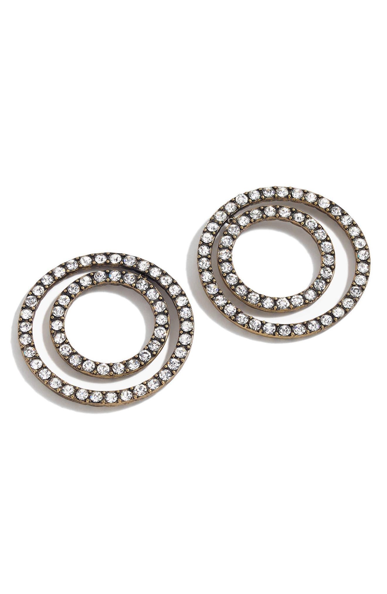 J.Crew Sparkle Double Circle Earrings,                             Main thumbnail 1, color,                             Heather Ash