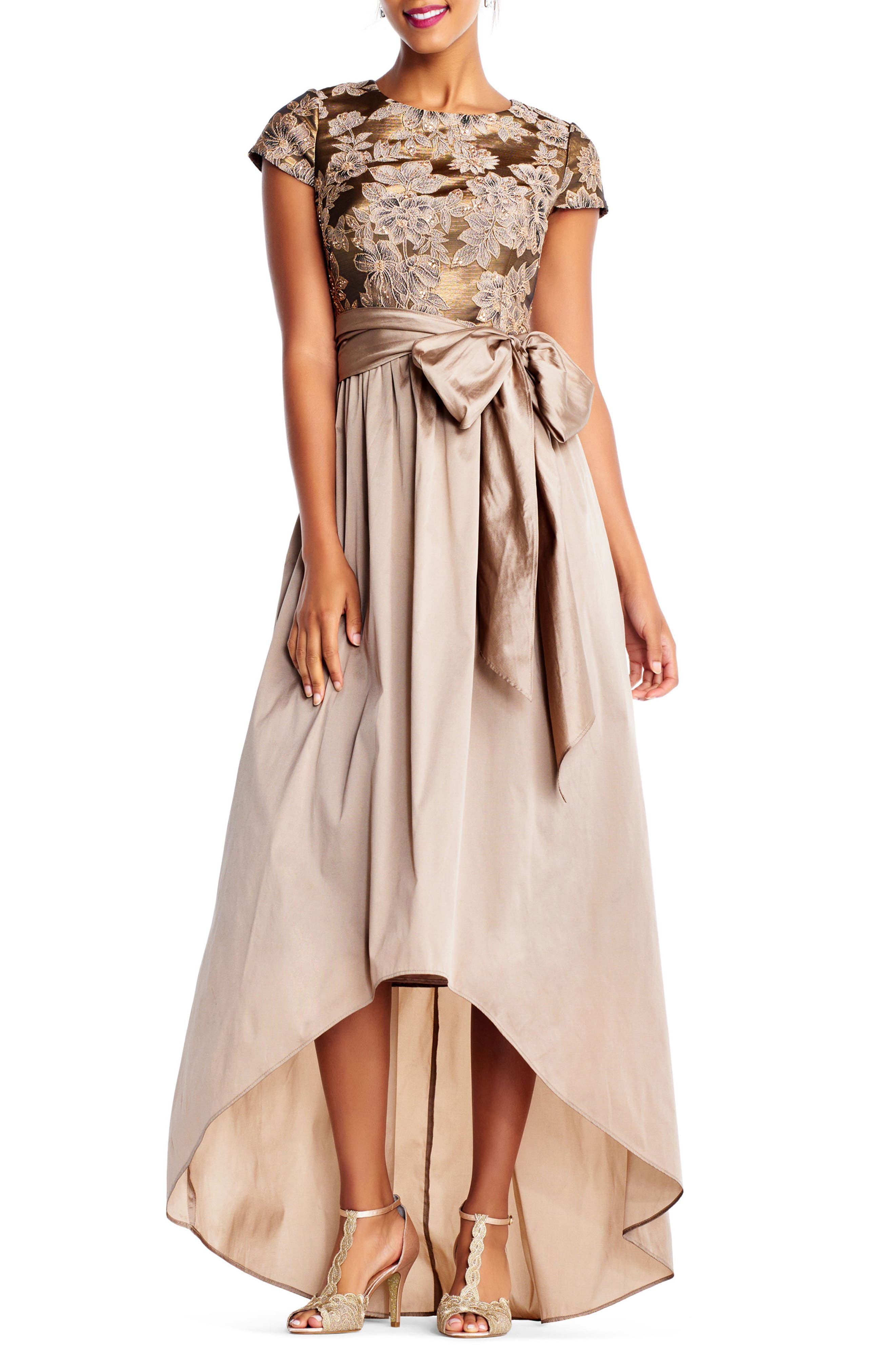 Taffeta High/Low Gown,                         Main,                         color, Antique Gold