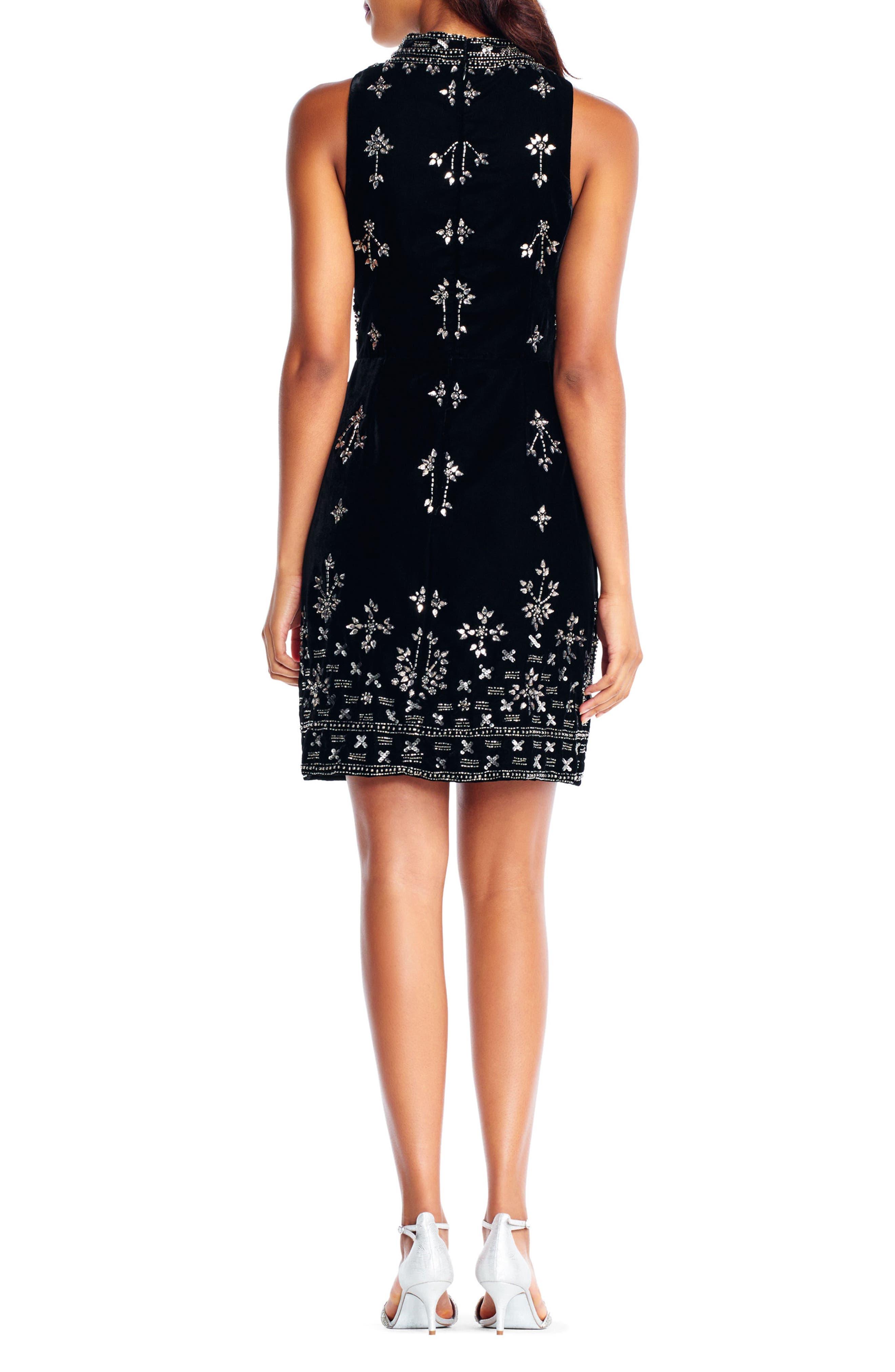 Beaded Velvet Mock Neck Sheath Dress,                             Alternate thumbnail 2, color,                             Black