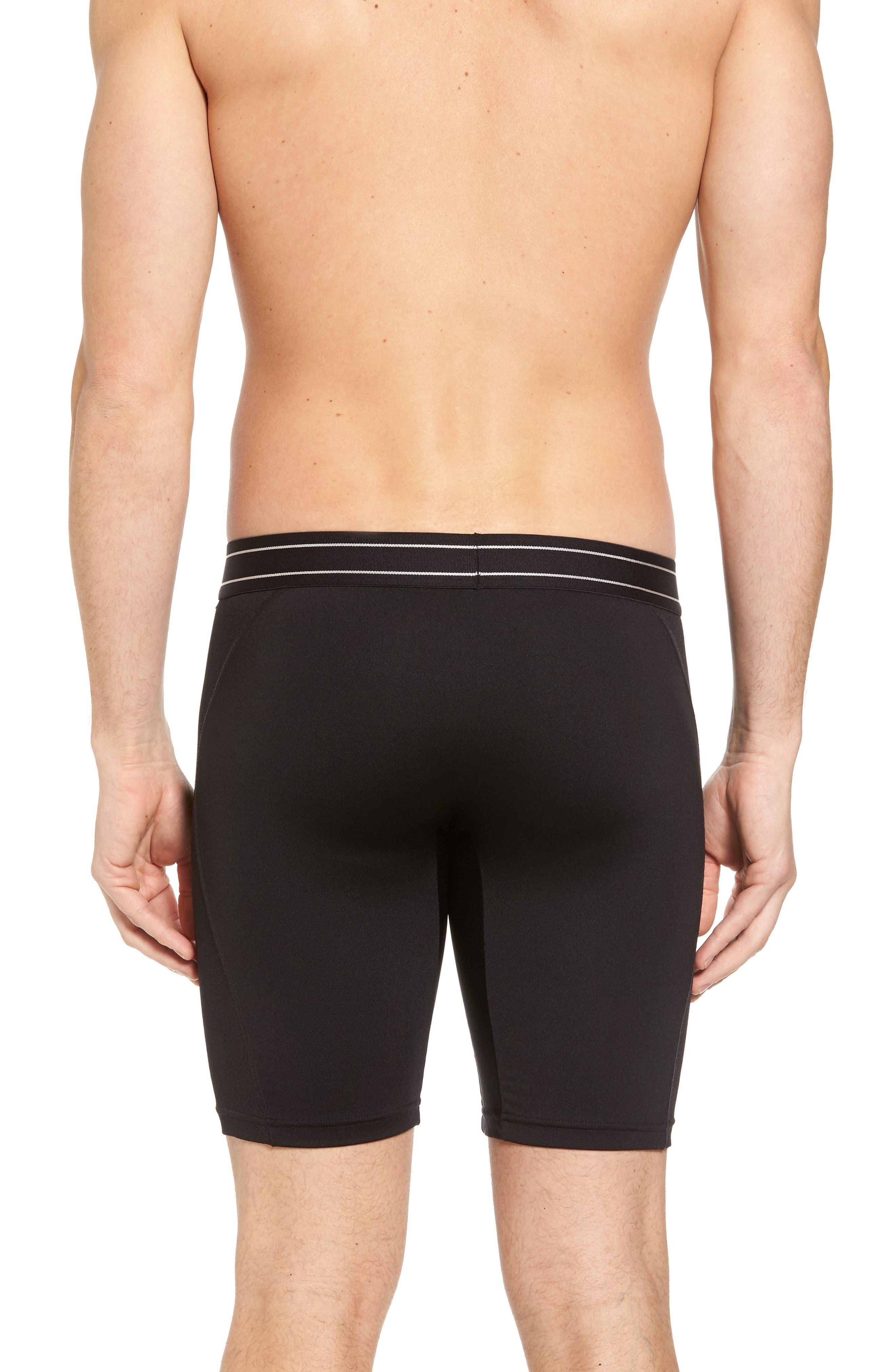 Tech-Smart Long Leg Boxer Briefs,                             Alternate thumbnail 2, color,                             Black