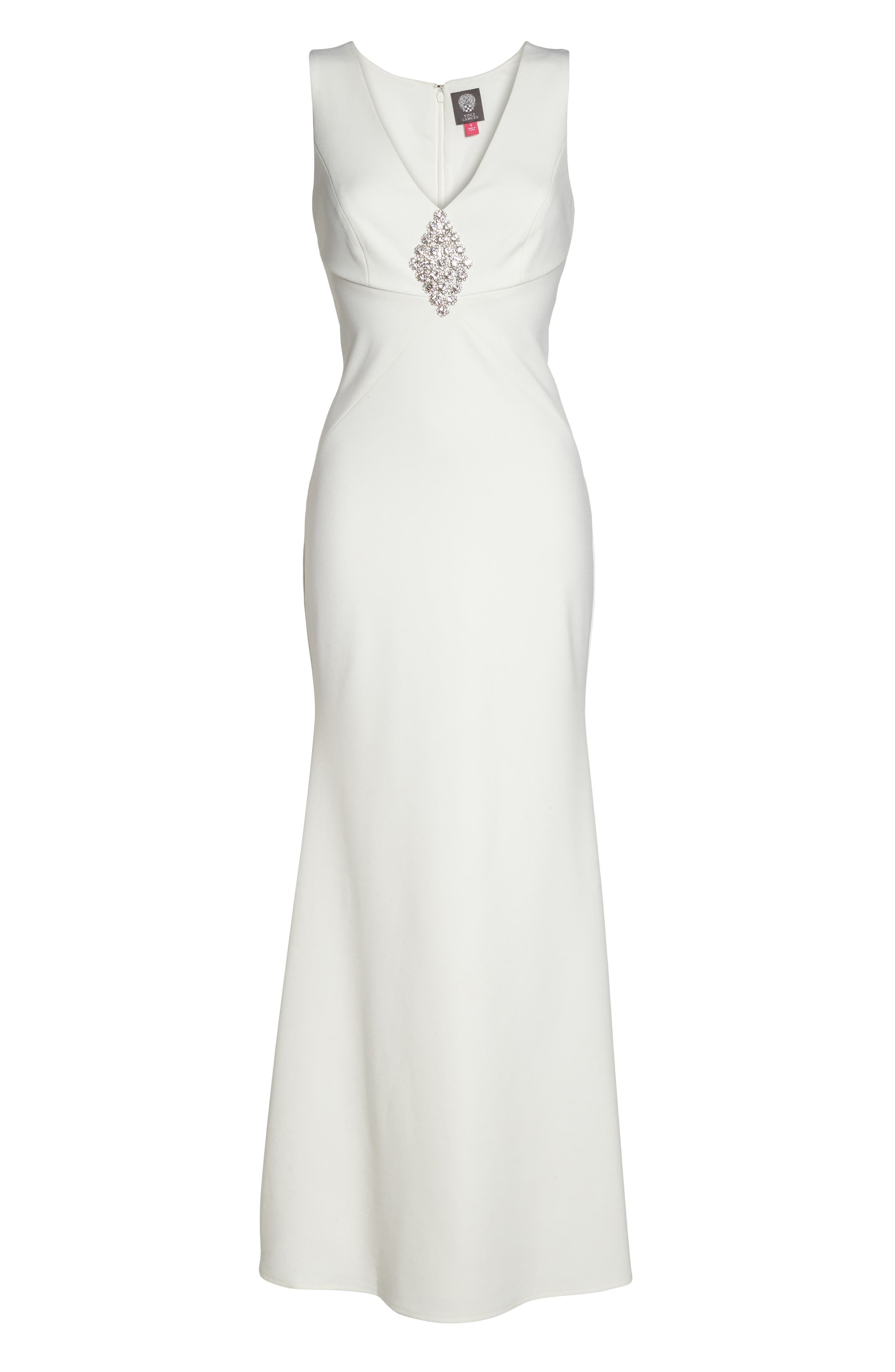 Embellished Scuba Crepe Gown,                             Alternate thumbnail 6, color,                             Ivory