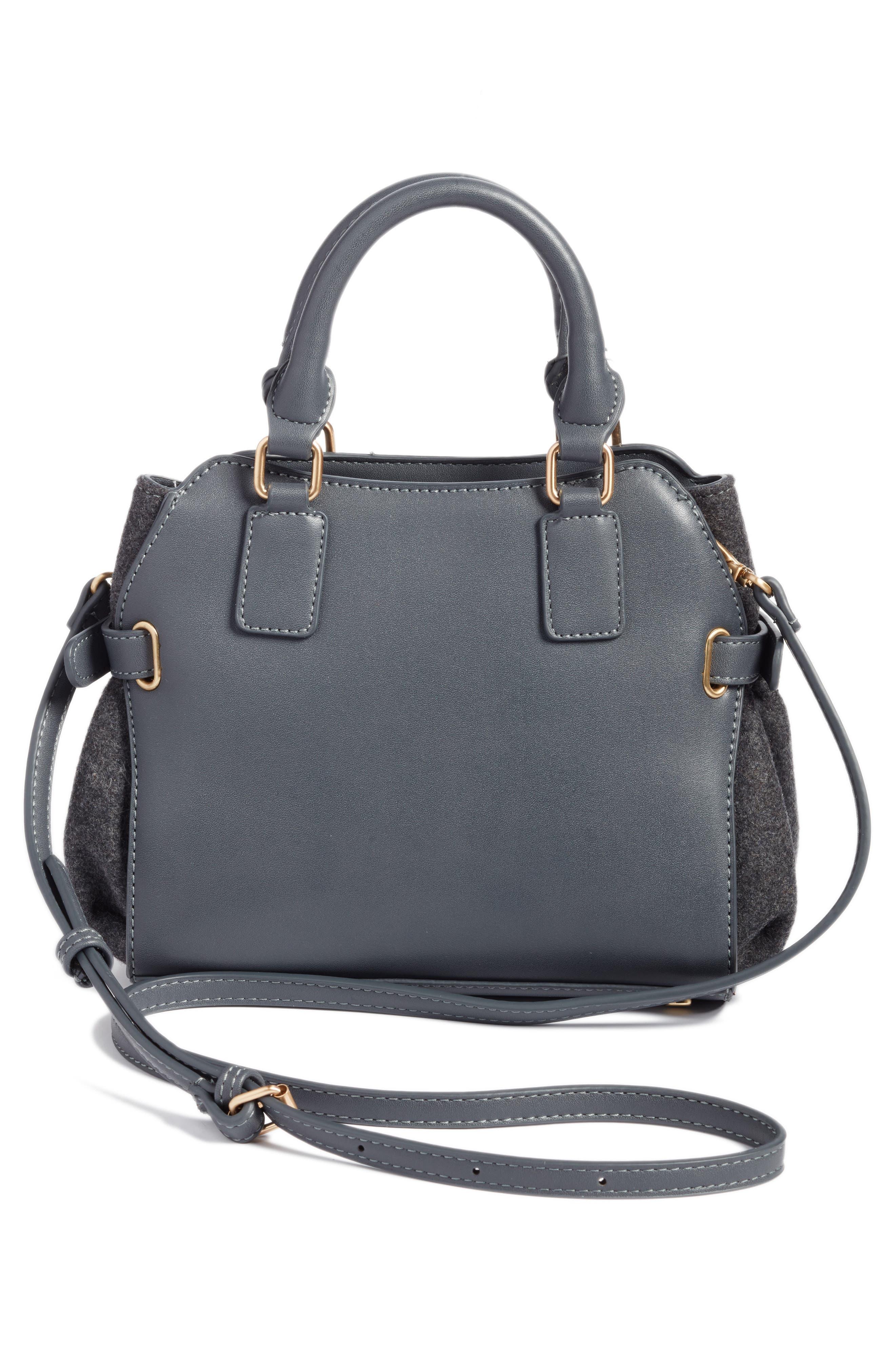 Faux Leather & Flannel Satchel,                             Alternate thumbnail 2, color,                             Black Grey Flannel