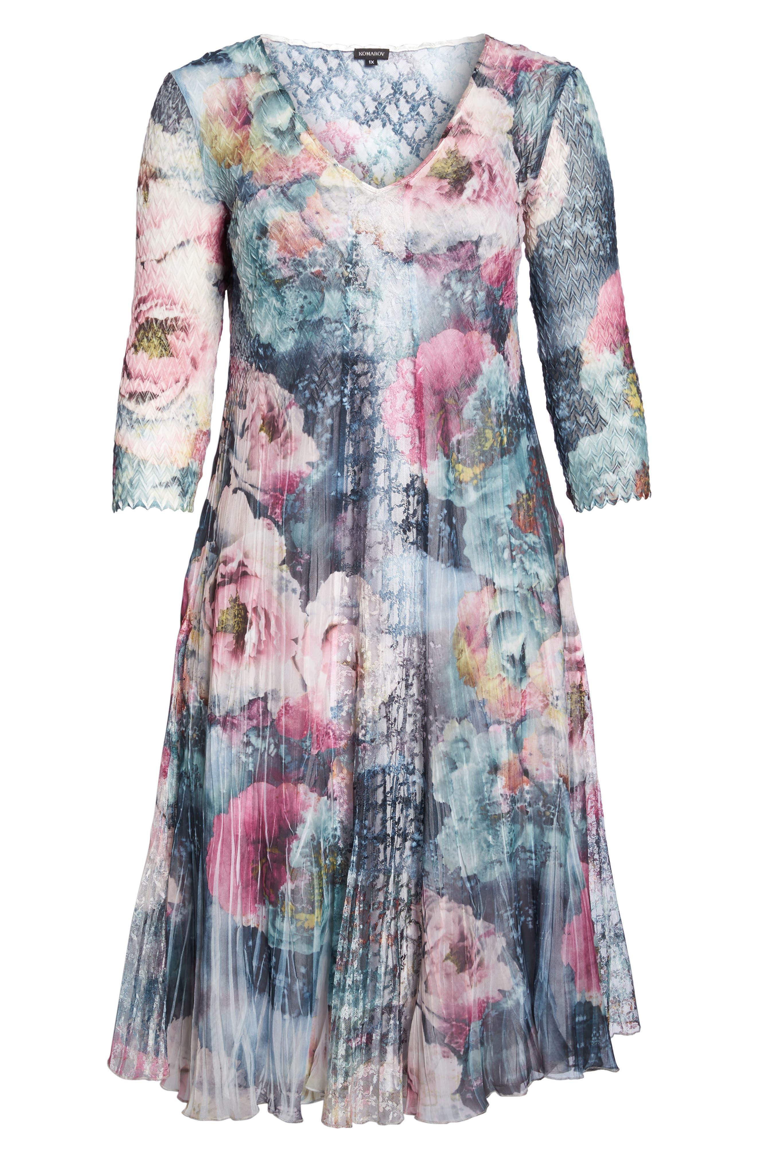 Dress Floral Chiffon & Lace Dress,                             Alternate thumbnail 6, color,                             Rapture Rose