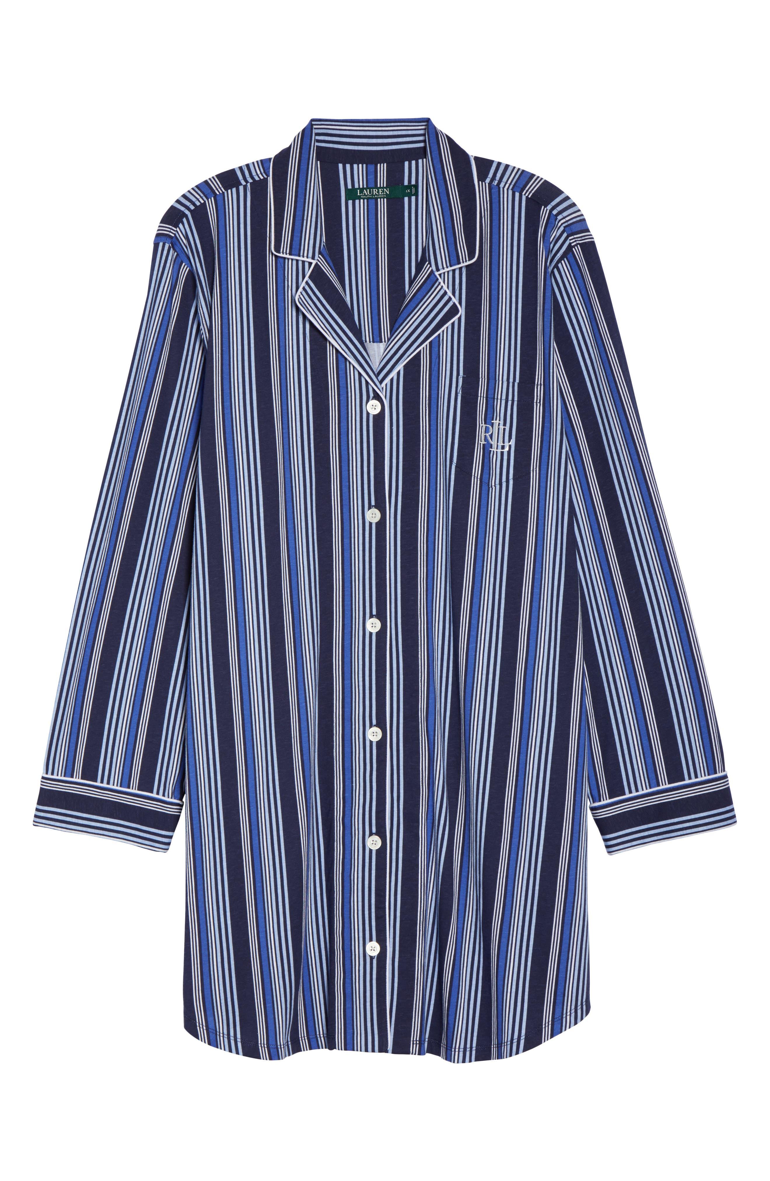 Stripe Night Shirt,                             Alternate thumbnail 4, color,                             Blue Stripe