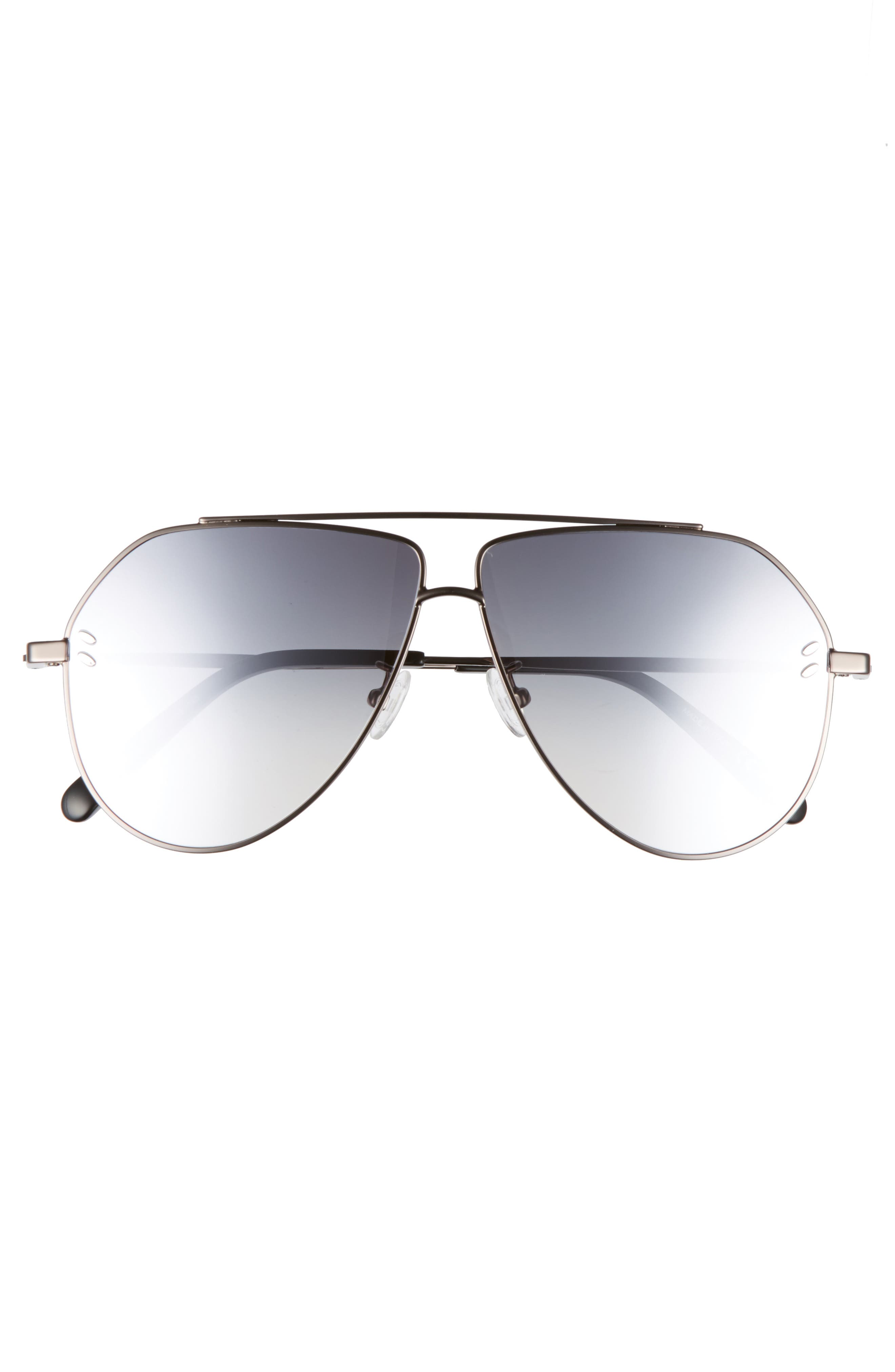 60mm Aviator Sunglasses,                             Alternate thumbnail 3, color,                             Ruthenium
