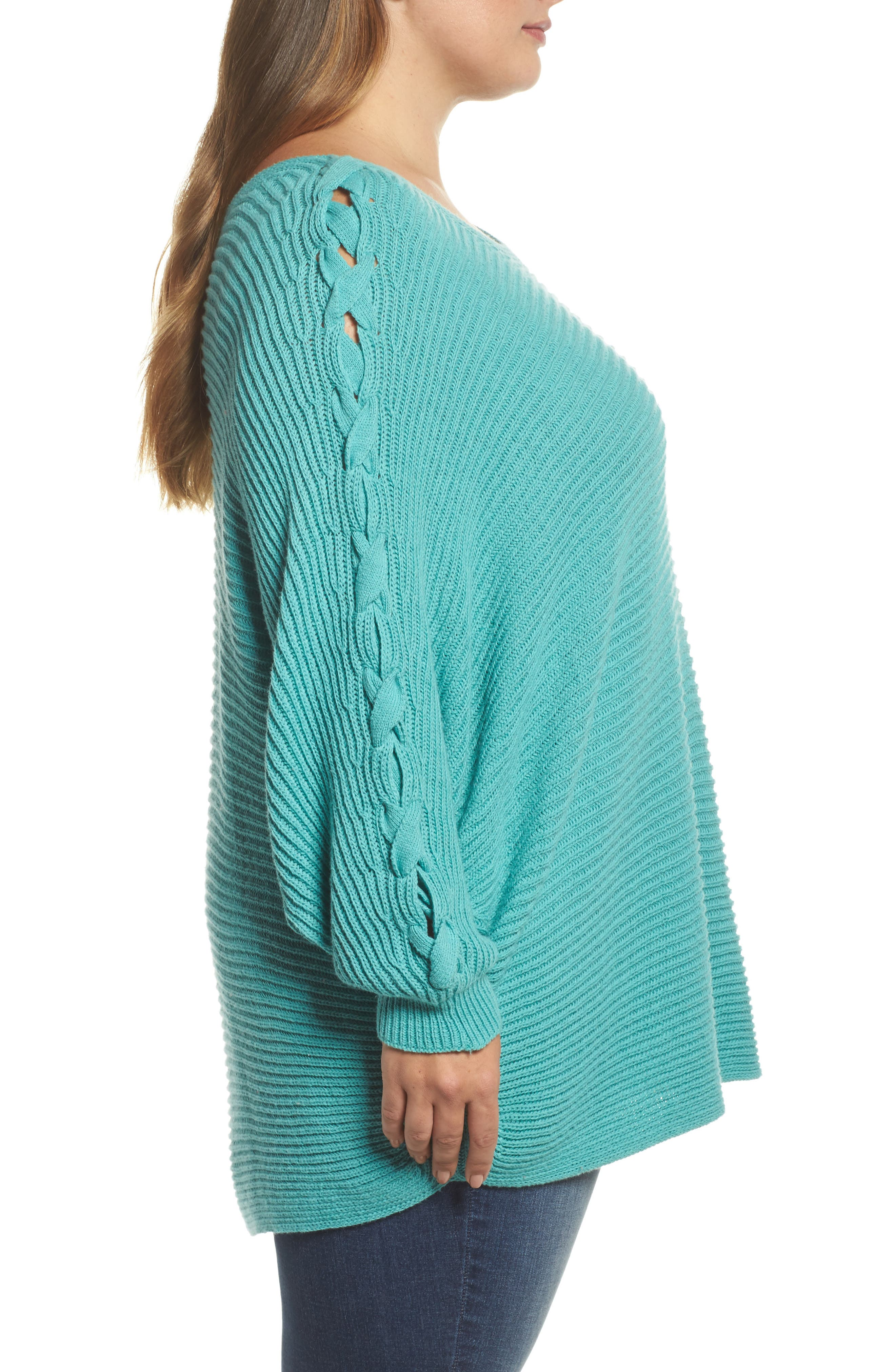 Lace-Up Sleeve Sweater,                             Alternate thumbnail 3, color,                             Green Agate