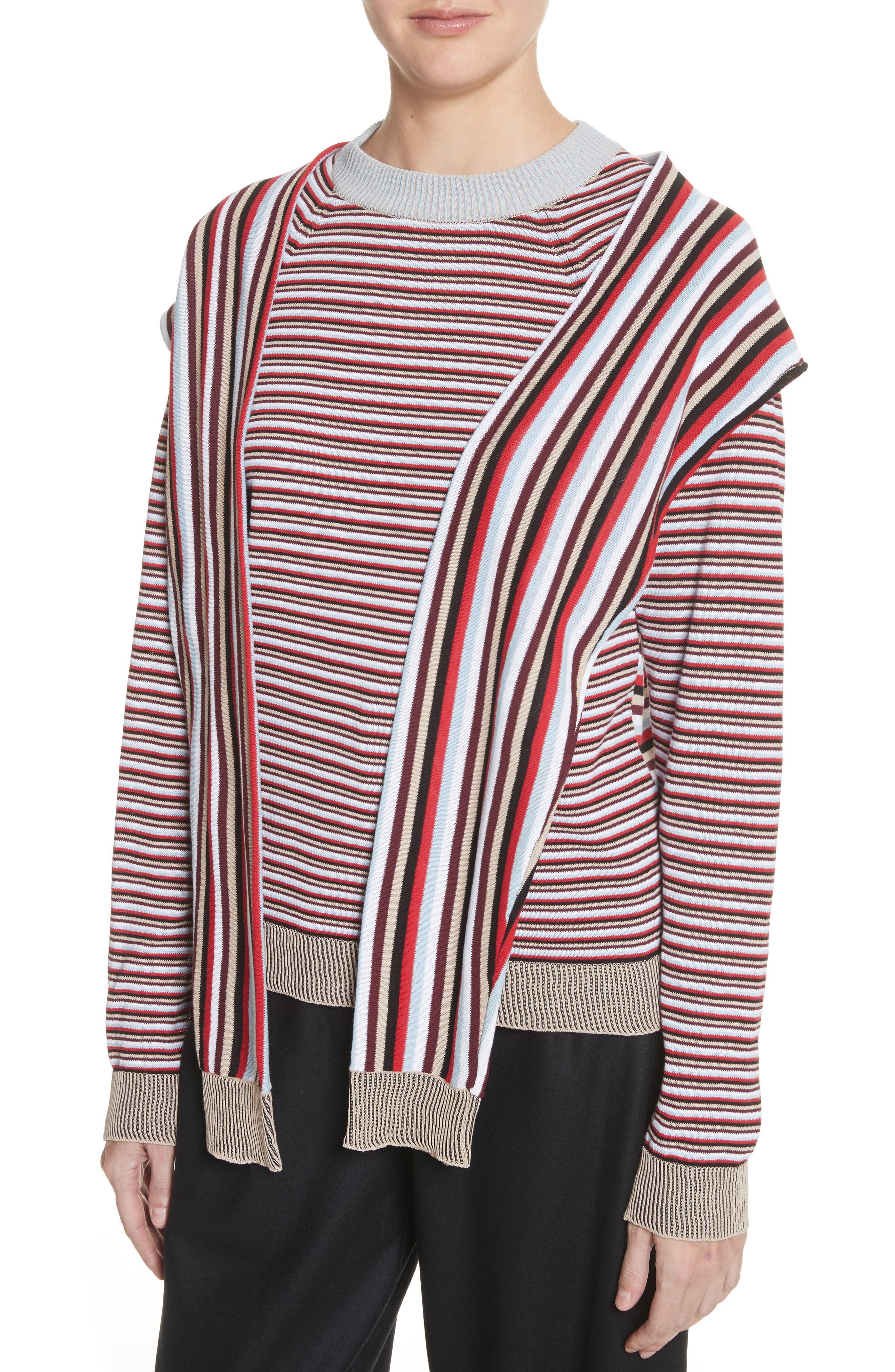 Trompe L'Oeil Sweater,                             Alternate thumbnail 4, color,                             Preppy