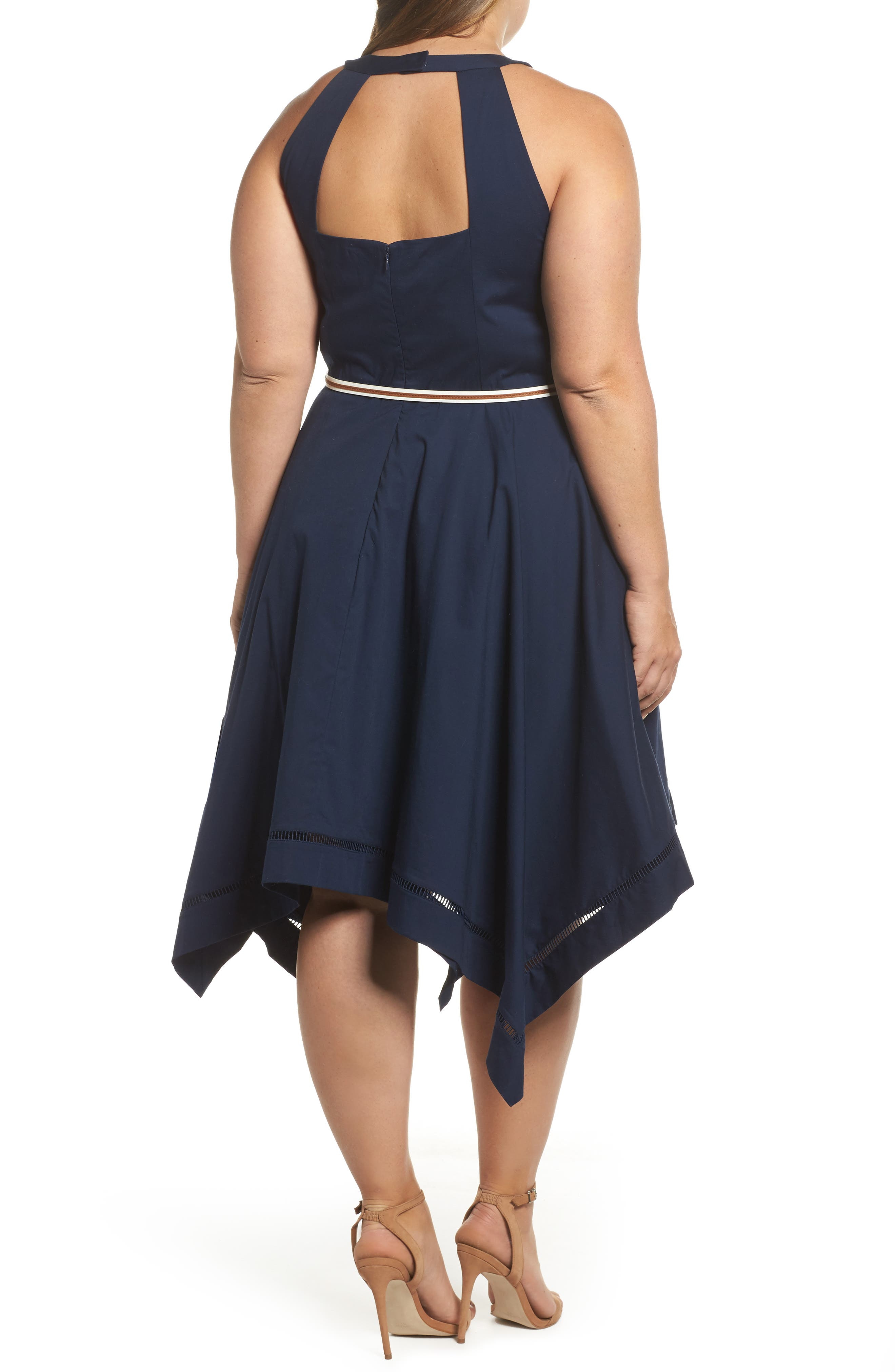 Handkerchief Hem Fit & Flare Dress,                             Alternate thumbnail 2, color,                             Navy