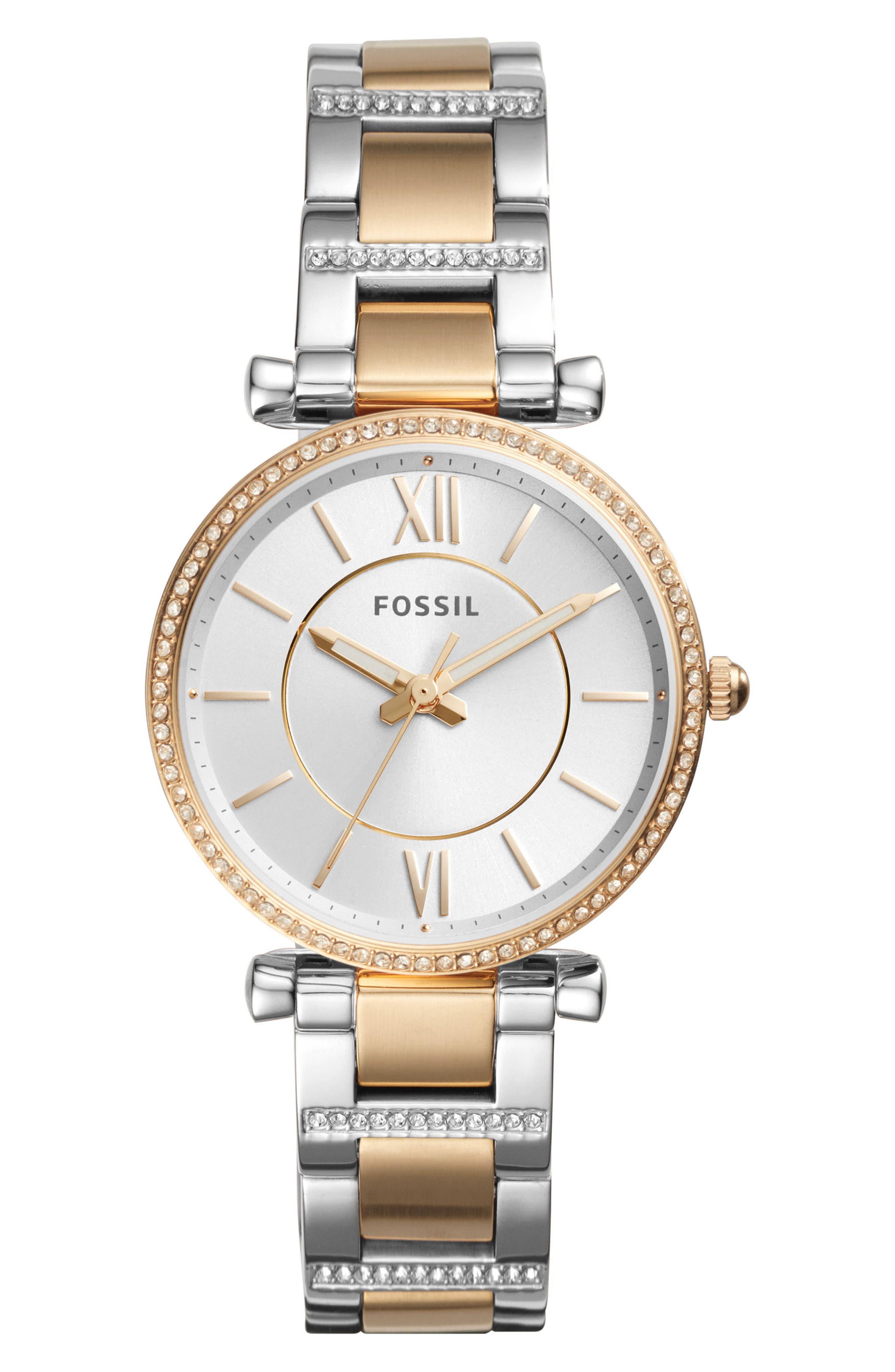 Carlie T-Bar Crystal Bracelet Watch, 35mm,                         Main,                         color, Gold/ Silver
