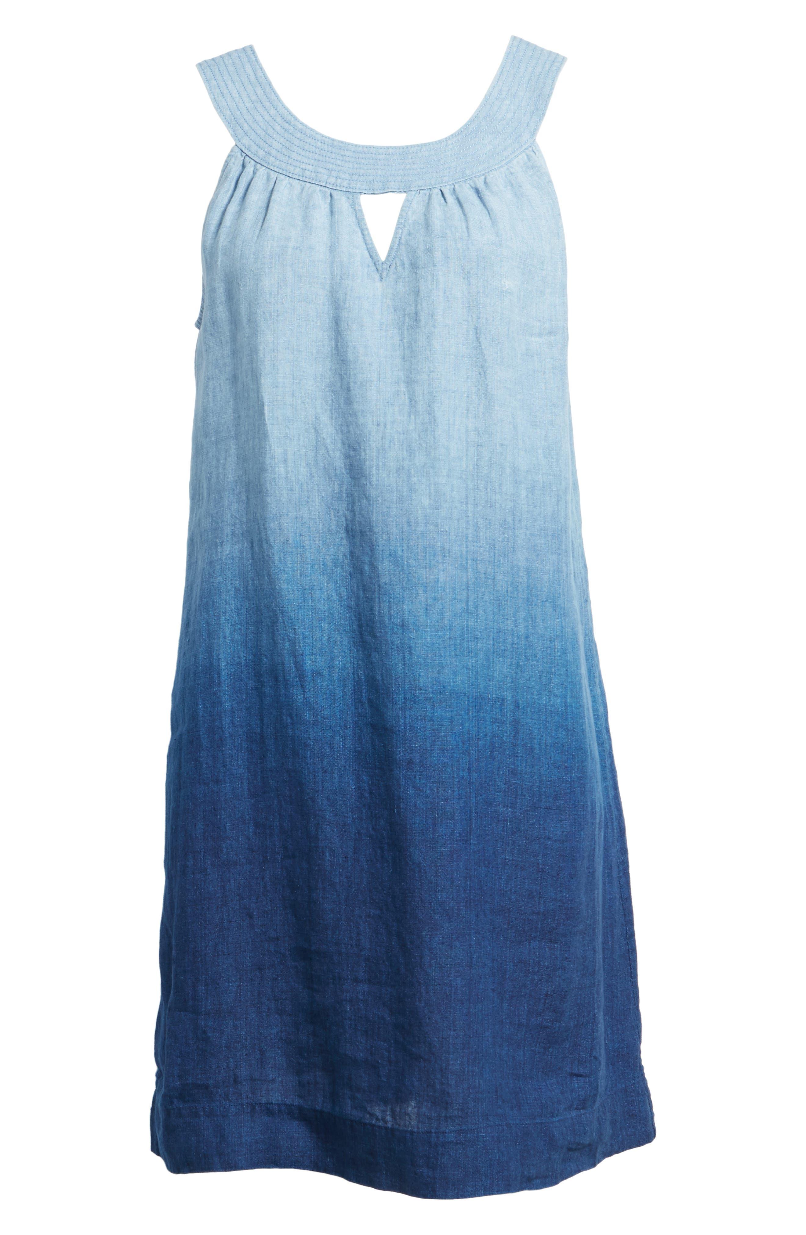 Indigo Dip Dyed Shift Dress,                             Alternate thumbnail 6, color,                             Dark Indigo Wash