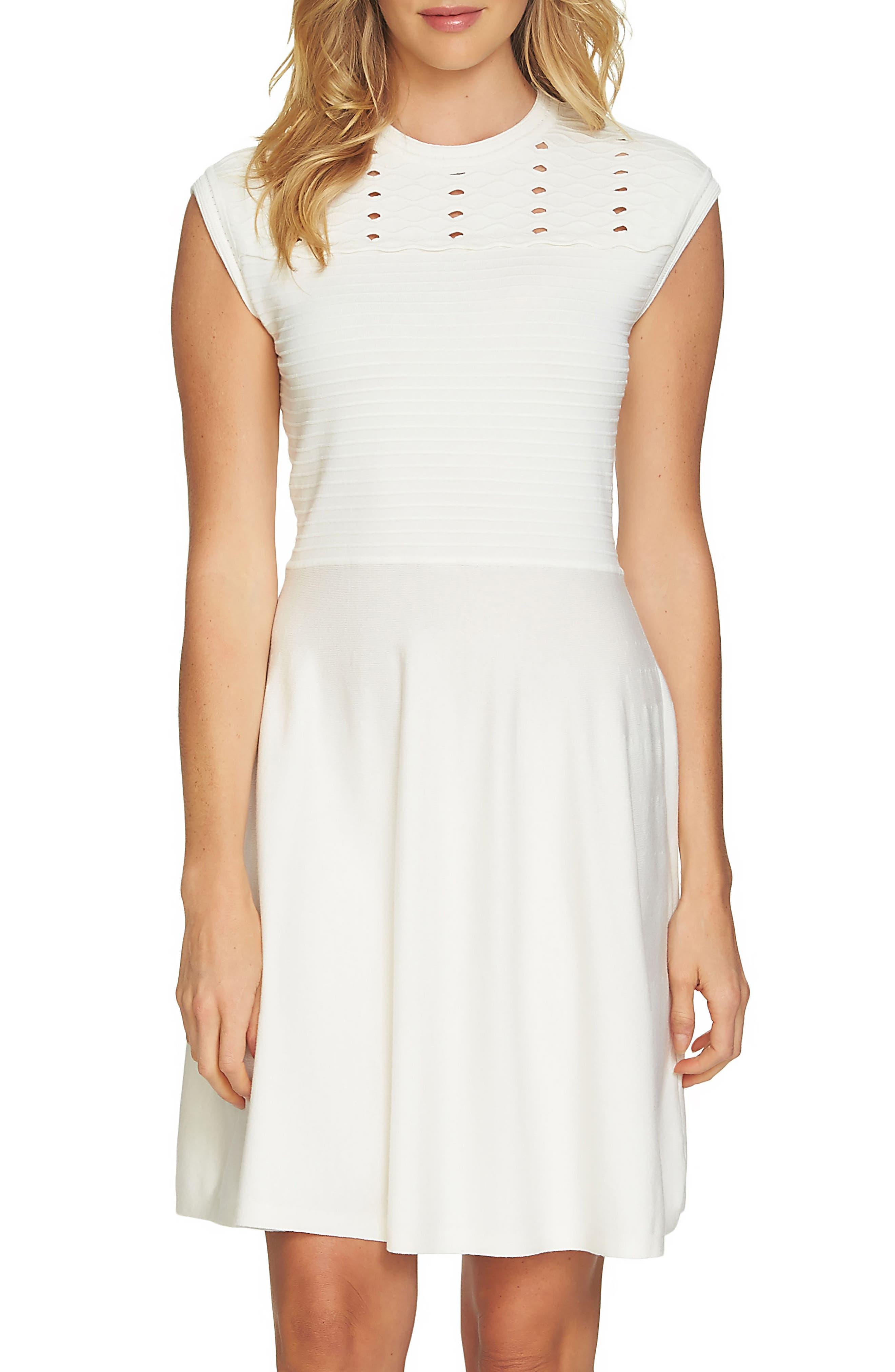 Knit Fit & Flare Dress,                             Main thumbnail 1, color,                             Antique White