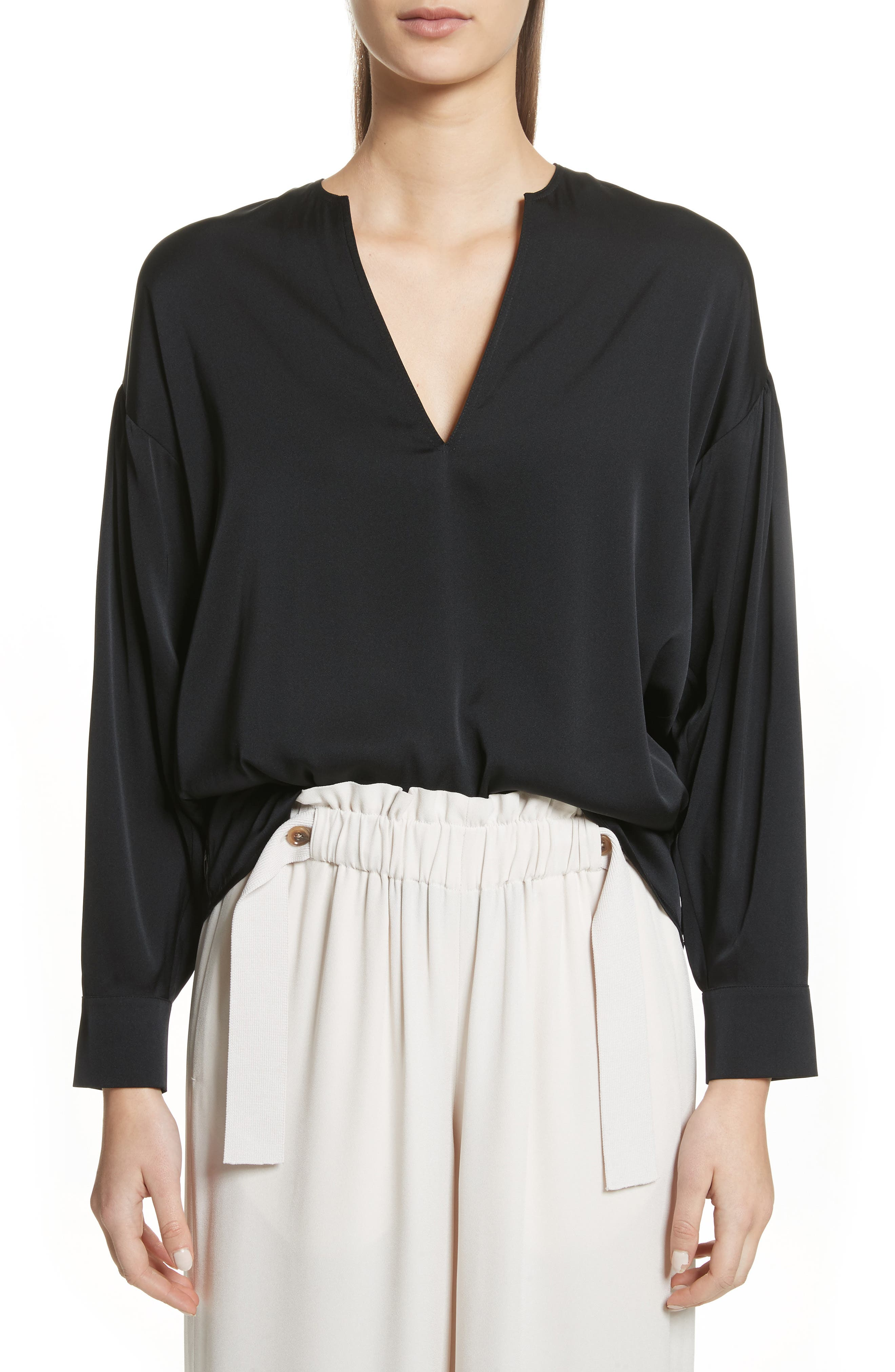 Ruched Split Neck Stretch Silk Blouse,                         Main,                         color, Black