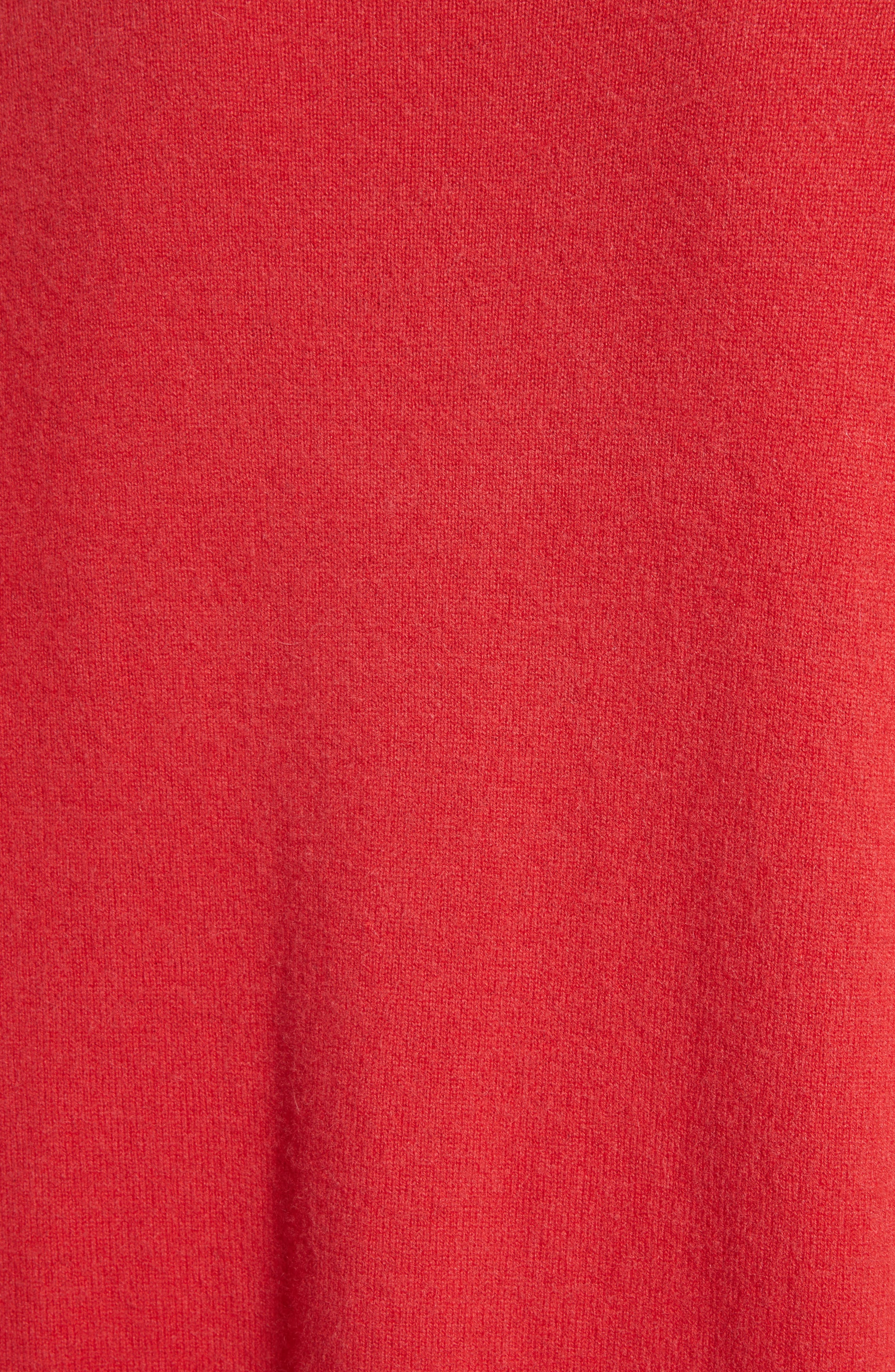 Pleat Sleeve Cashmere Sweater,                             Alternate thumbnail 7, color,                             Poppy