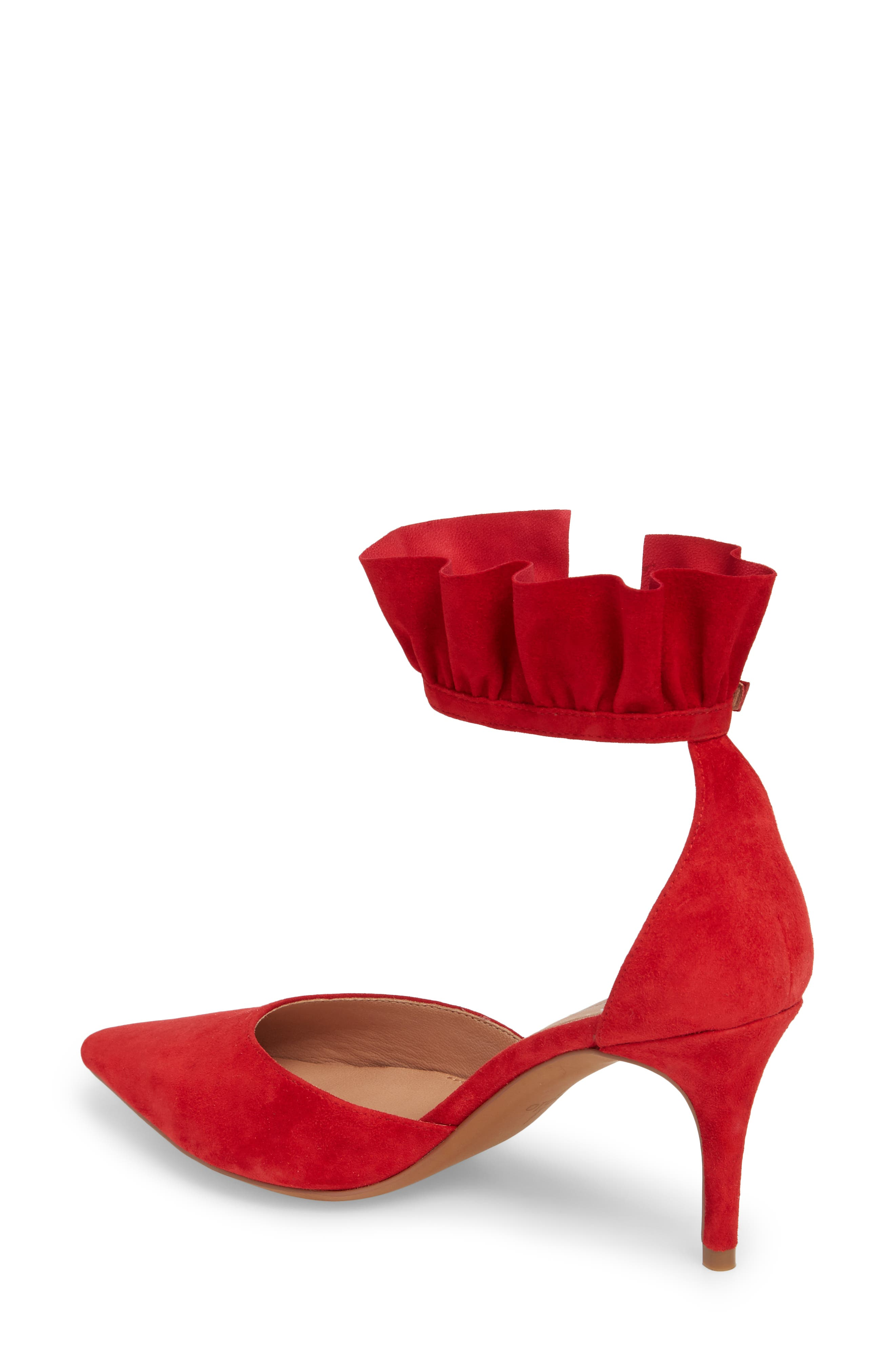 Pammy Ruffled Pointy Toe Pump,                             Alternate thumbnail 2, color,                             Red Suede