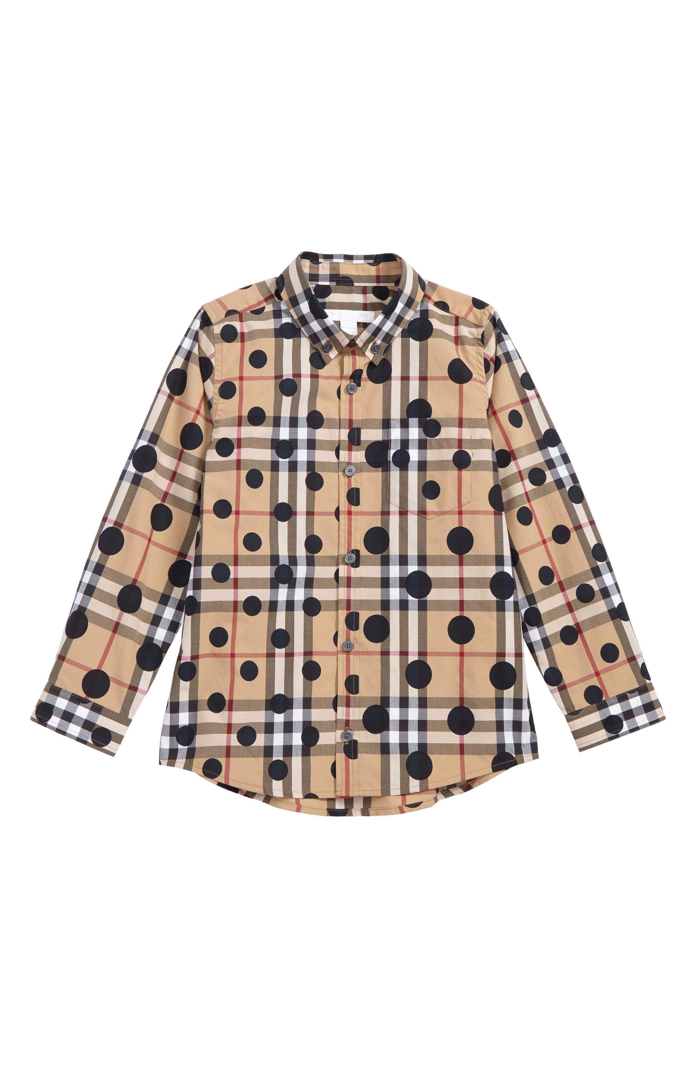 Mini Fred Polka Dot & Check Print Shirt,                             Main thumbnail 1, color,                             Navy