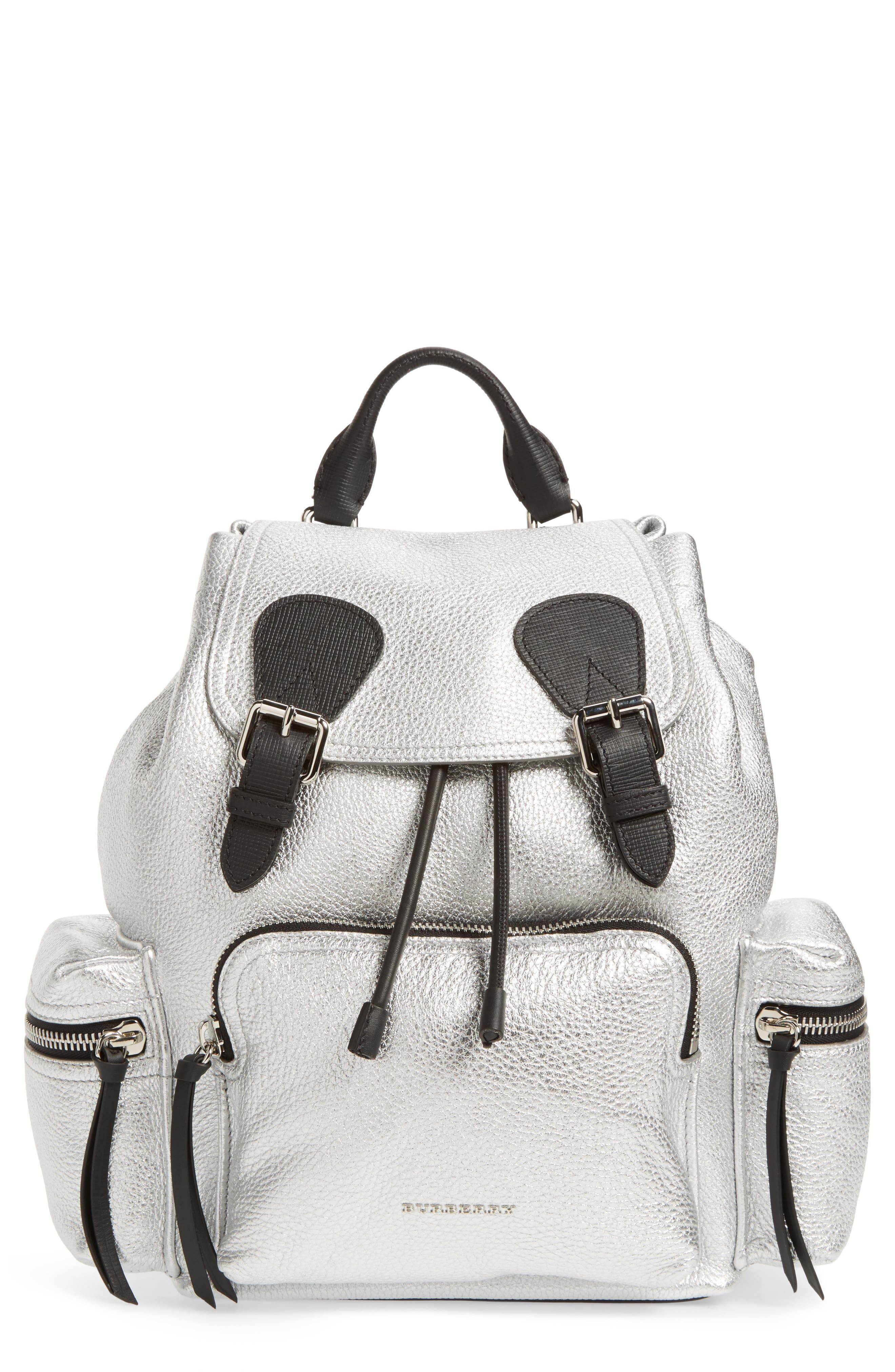 Medium Rucksack Metallic Leather Backpack,                             Main thumbnail 1, color,                             Silver