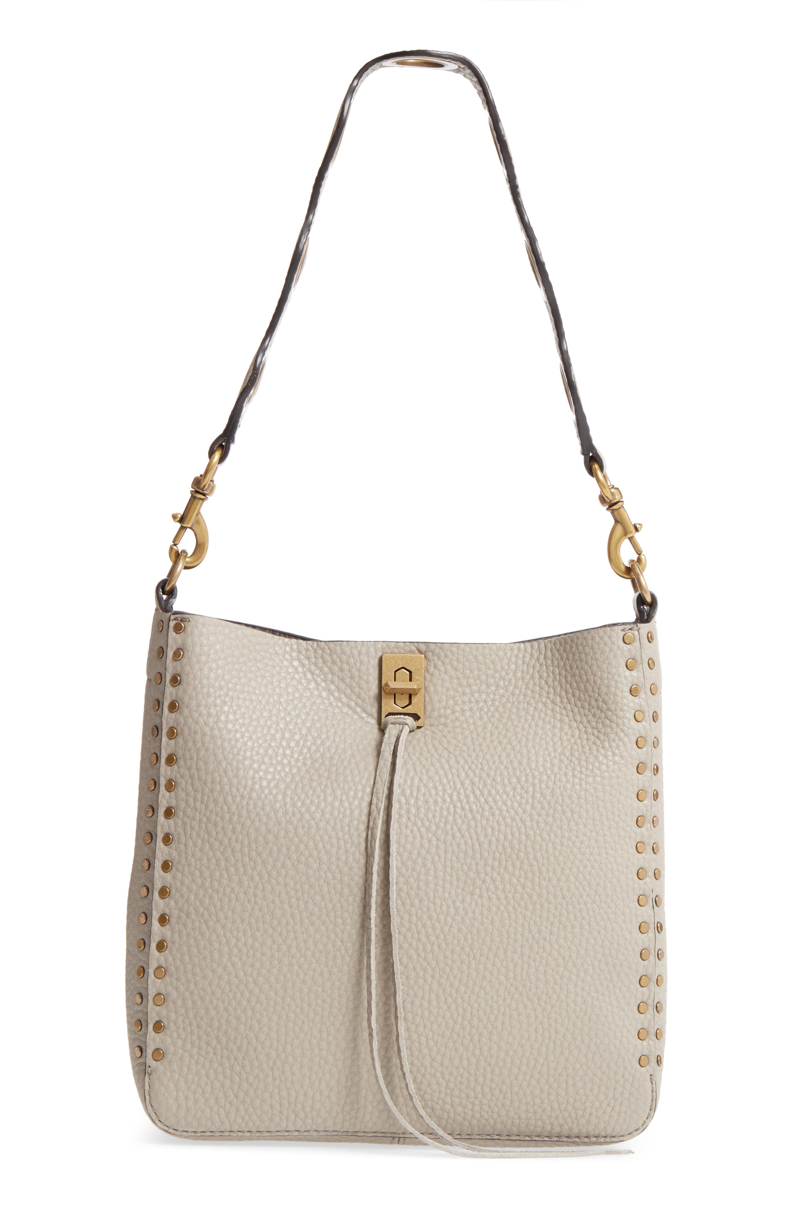 Small Darren Deerskin Leather Feed Bag,                             Main thumbnail 1, color,                             Taupe