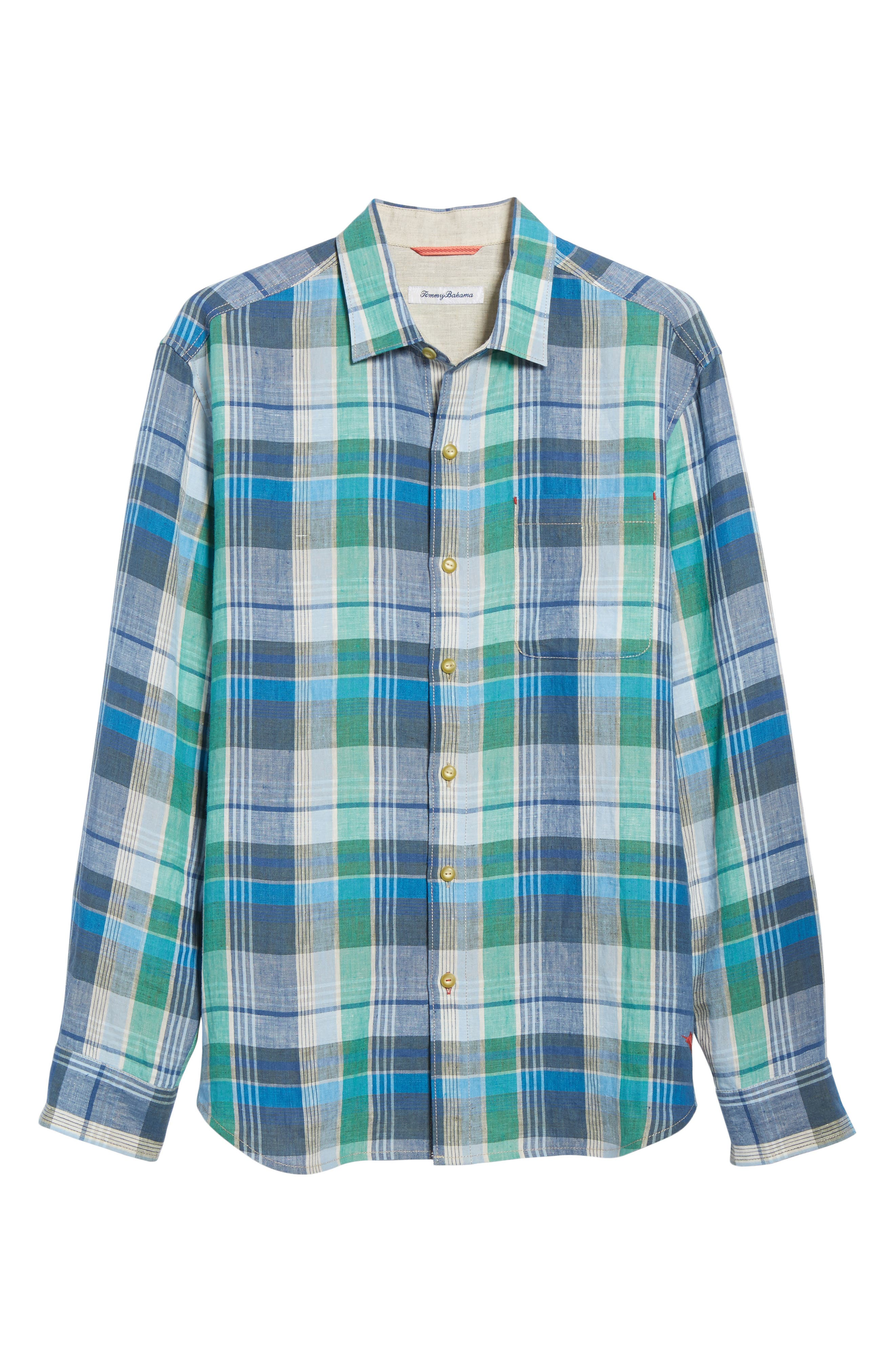 Vero Beach Madras Plaid Linen Sport Shirt,                             Alternate thumbnail 6, color,                             Castaway Green