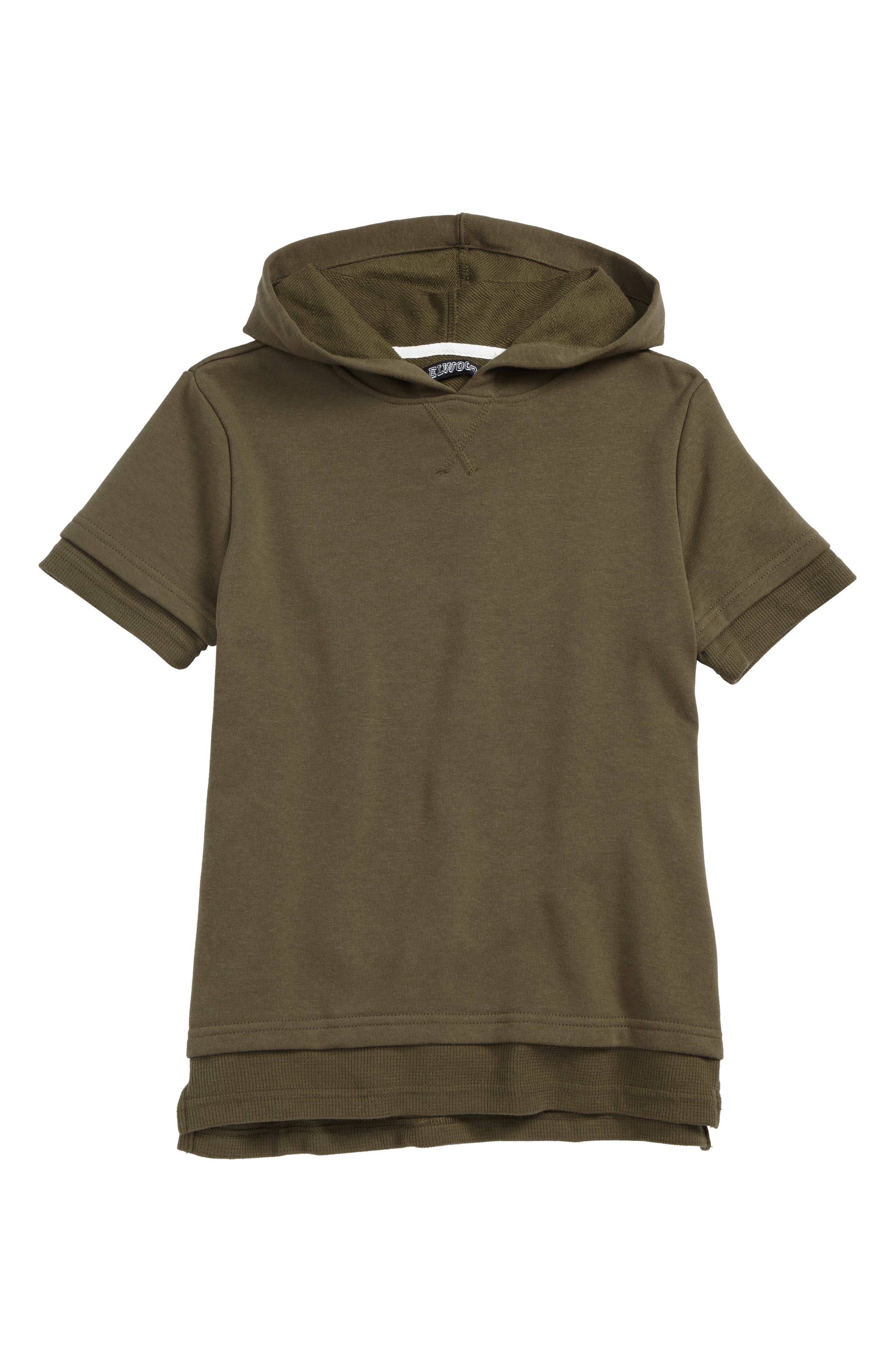 Short Sleeve Hoodie,                             Main thumbnail 1, color,                             Olive