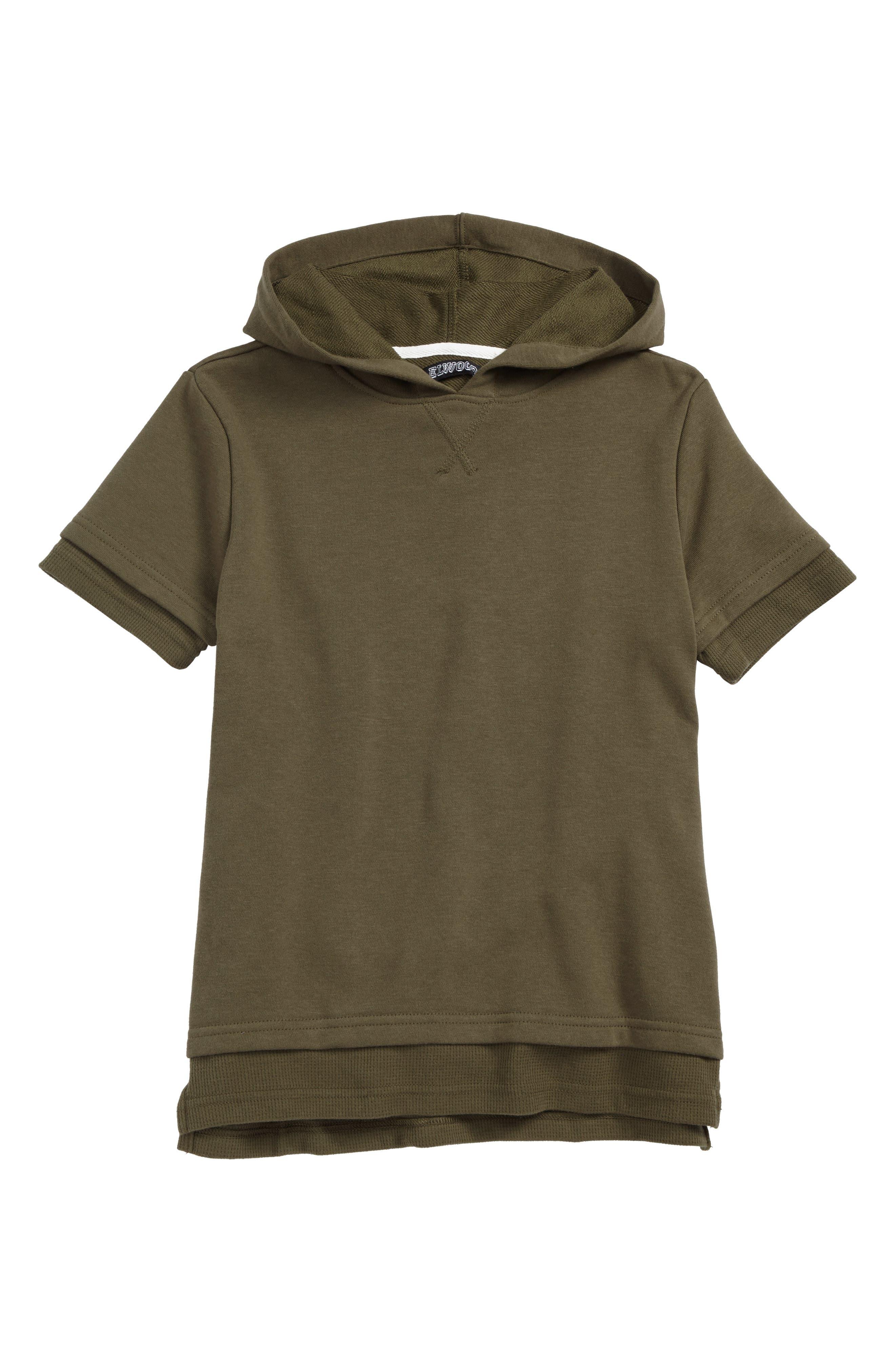Short Sleeve Hoodie,                         Main,                         color, Olive