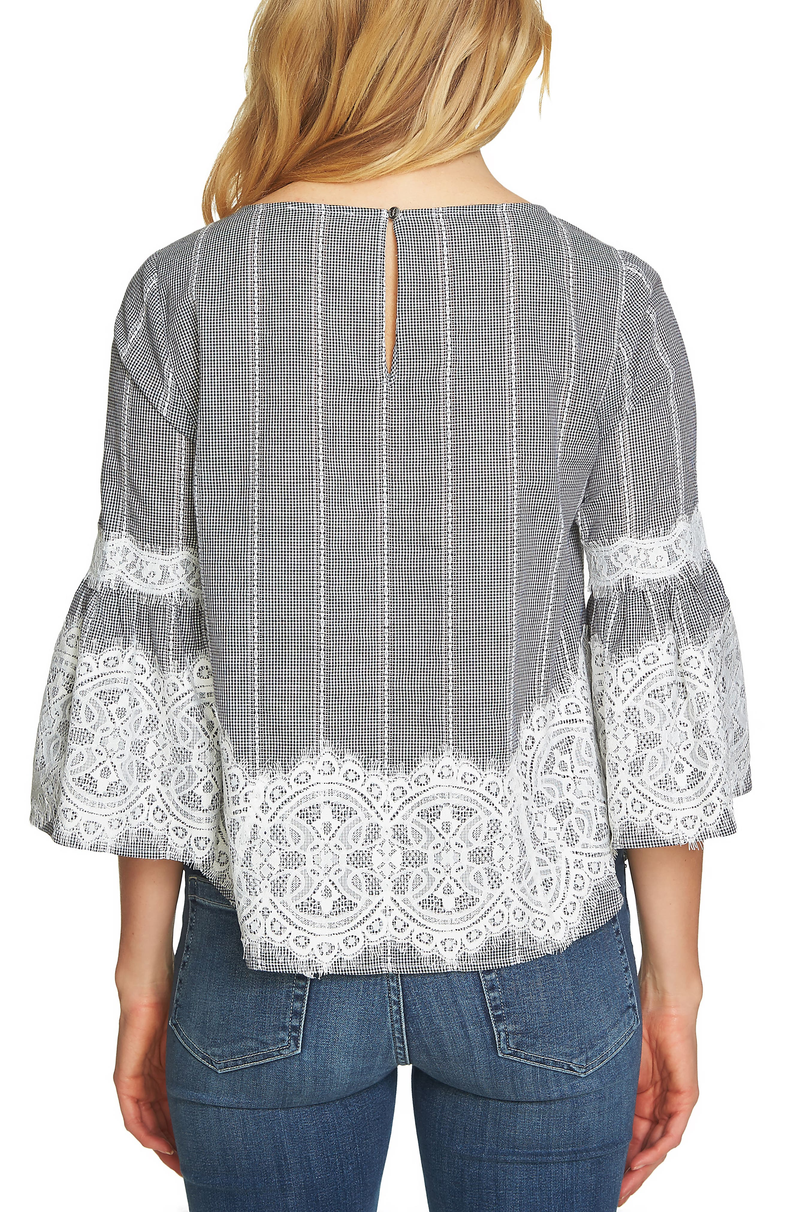 Bell Sleeve Lace & Gingham Blouse,                             Alternate thumbnail 2, color,                             Rich Black