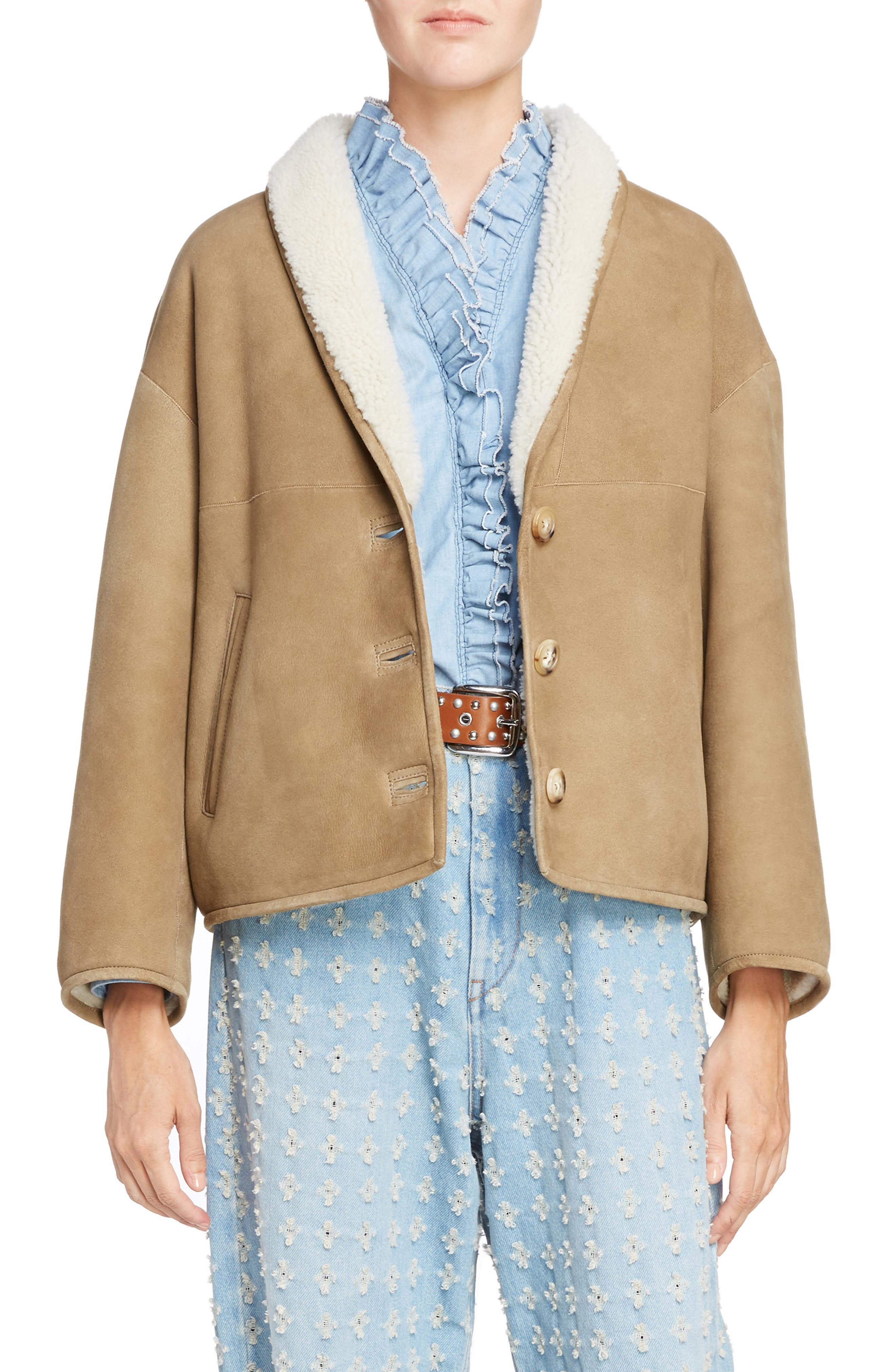 Isabel Marant Étoile Genuine Shearling Coat,                             Main thumbnail 1, color,                             Beige