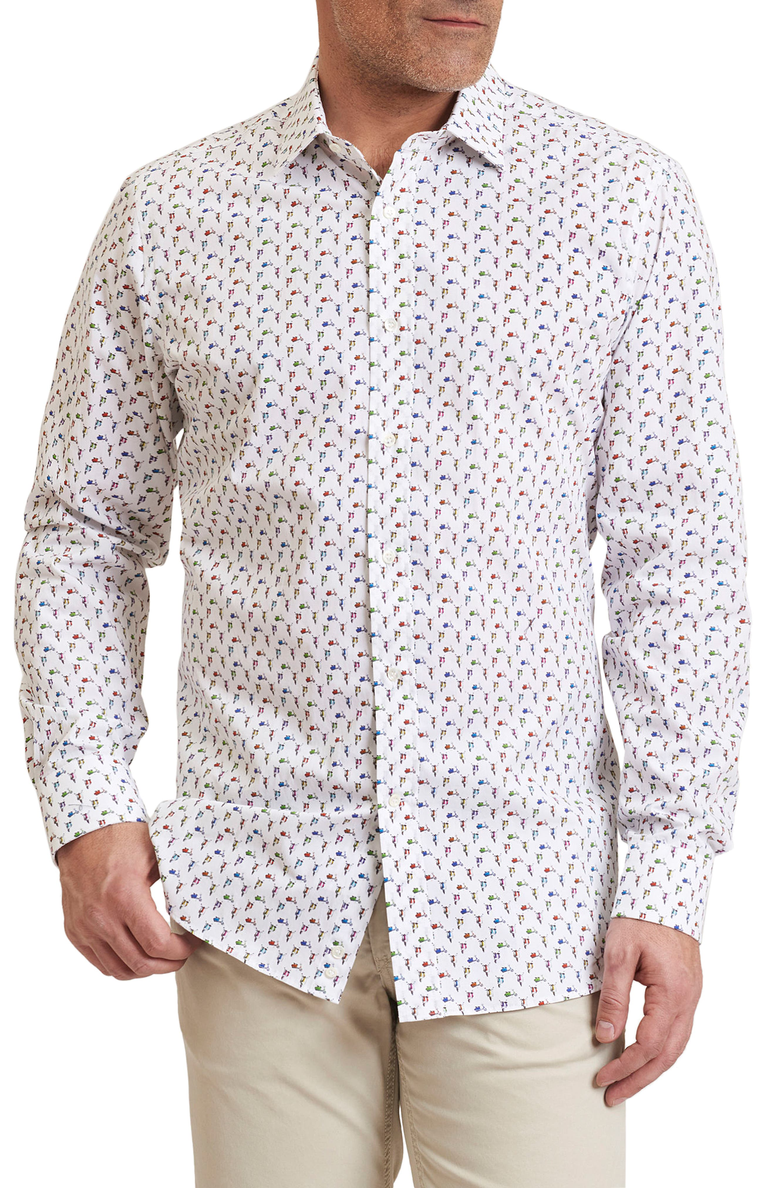 Scooter Regular Fit Print Sport Shirt,                         Main,                         color, White