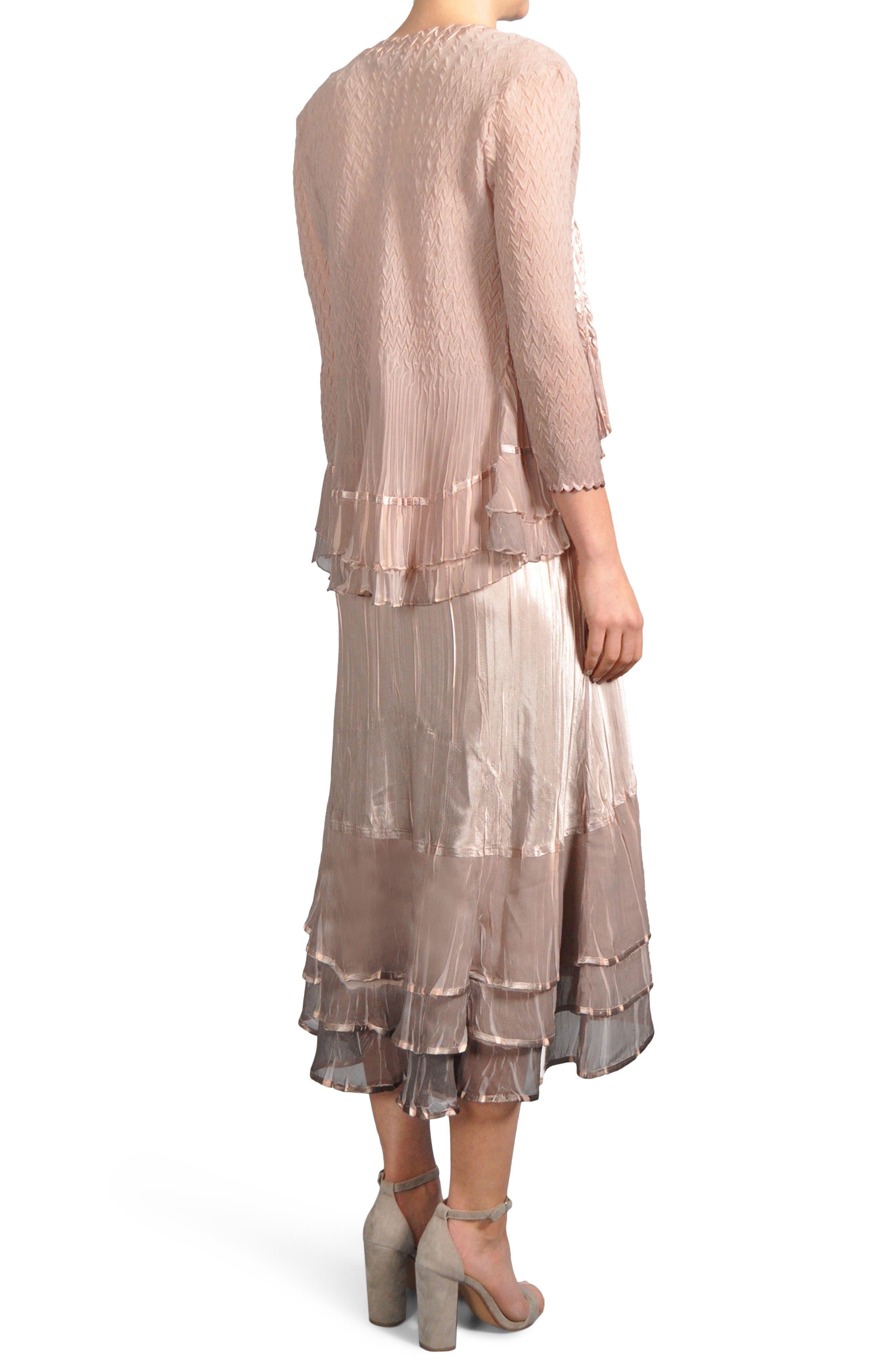 Ruffle Hem Midi Dress with Jacket,                             Alternate thumbnail 2, color,                             Vintage Rose