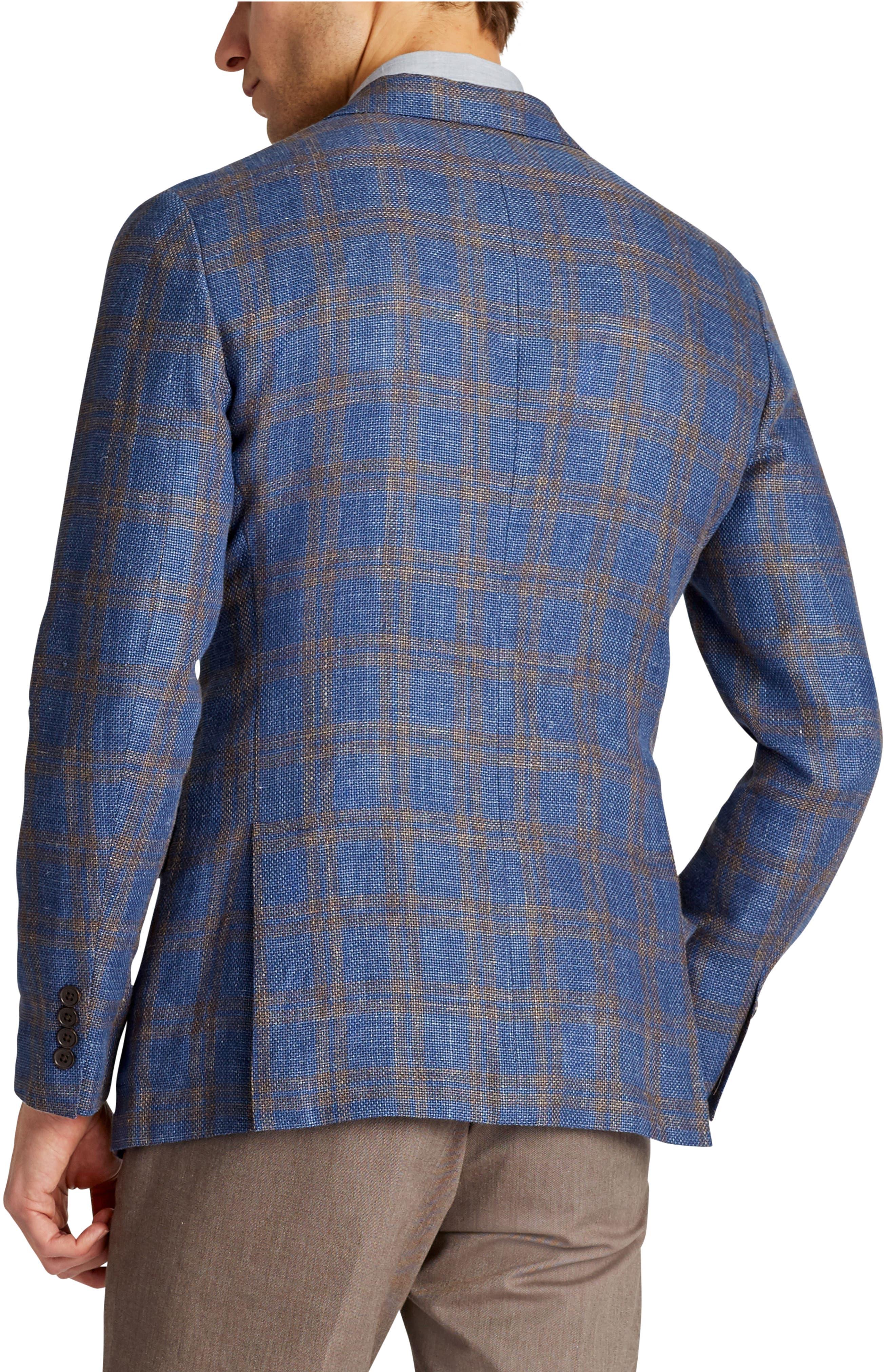 Slim Fit Plaid Linen Blend Unconstructed Blazer,                             Alternate thumbnail 2, color,                             Gold Blue Plaid
