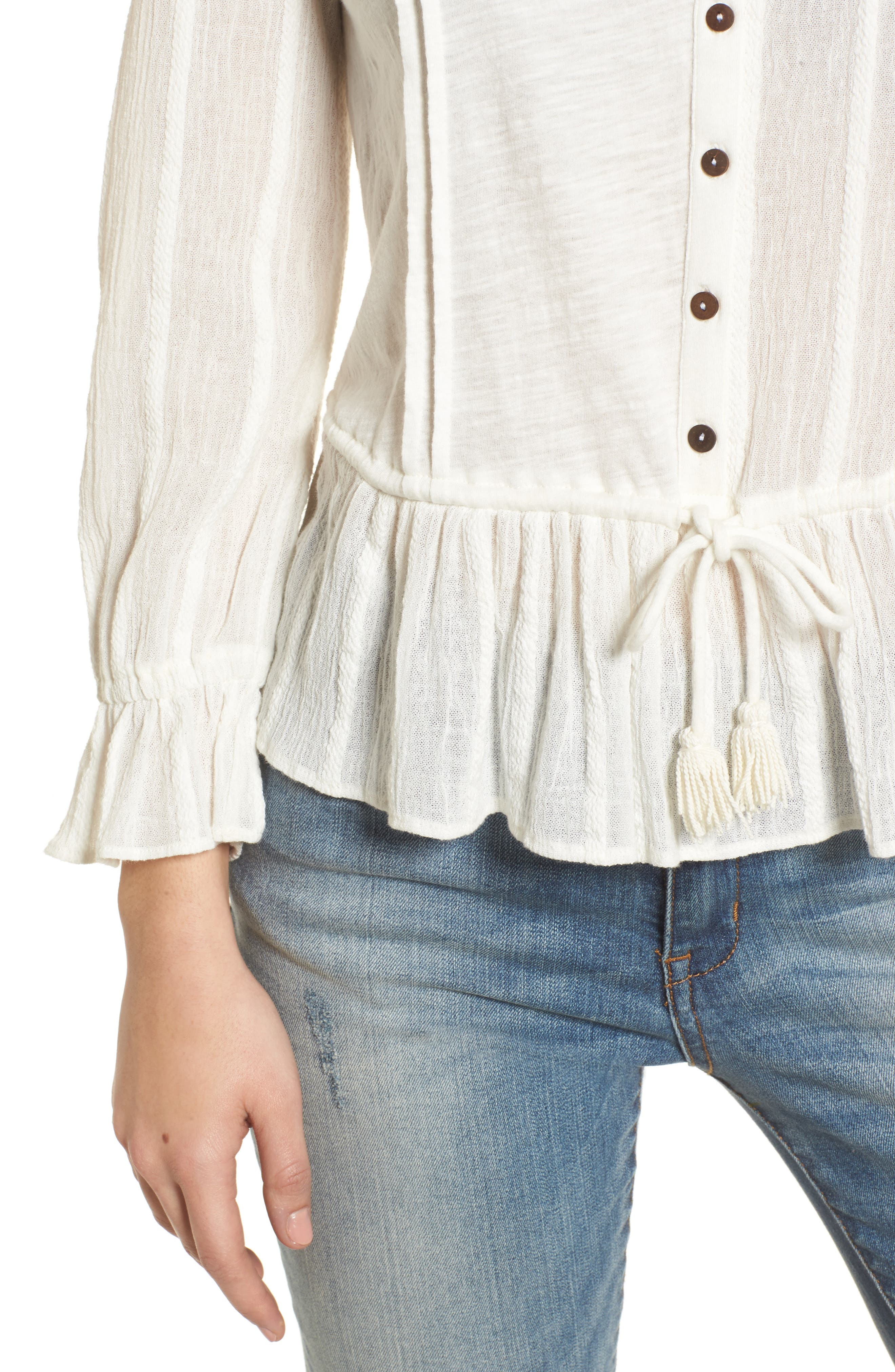 Alternate Image 4  - Lucky Brand Drawstring Peplum Top