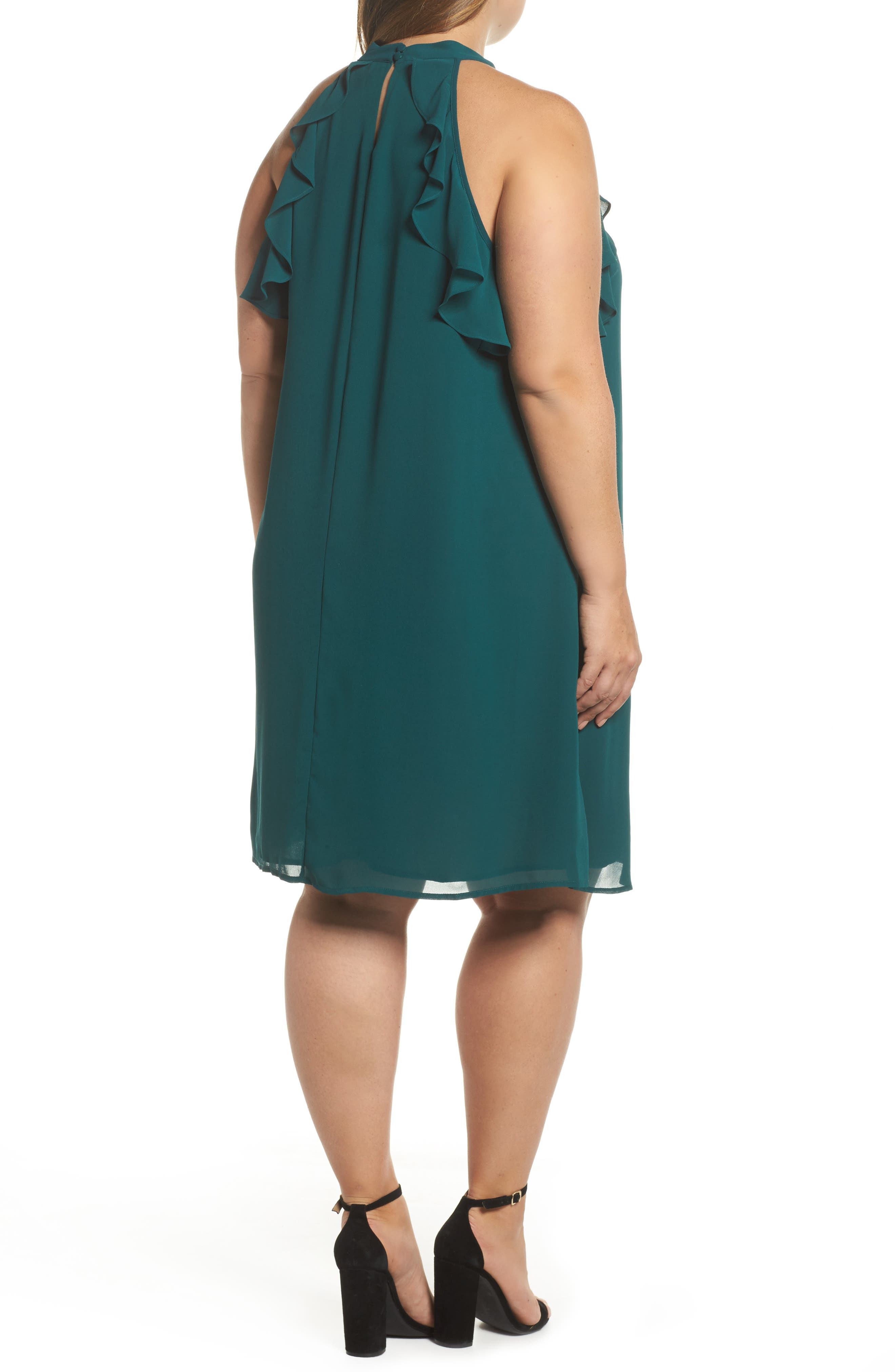 Halter Ruffle Trapeze Dress,                             Alternate thumbnail 2, color,                             Forest Green