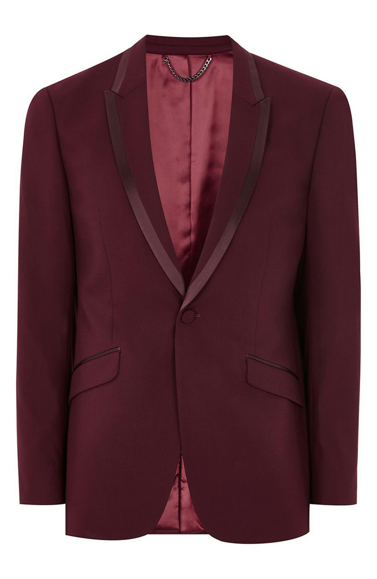 Skinny Fit Burgundy Tuxedo Jacket,                             Alternate thumbnail 5, color,                             Burgundy