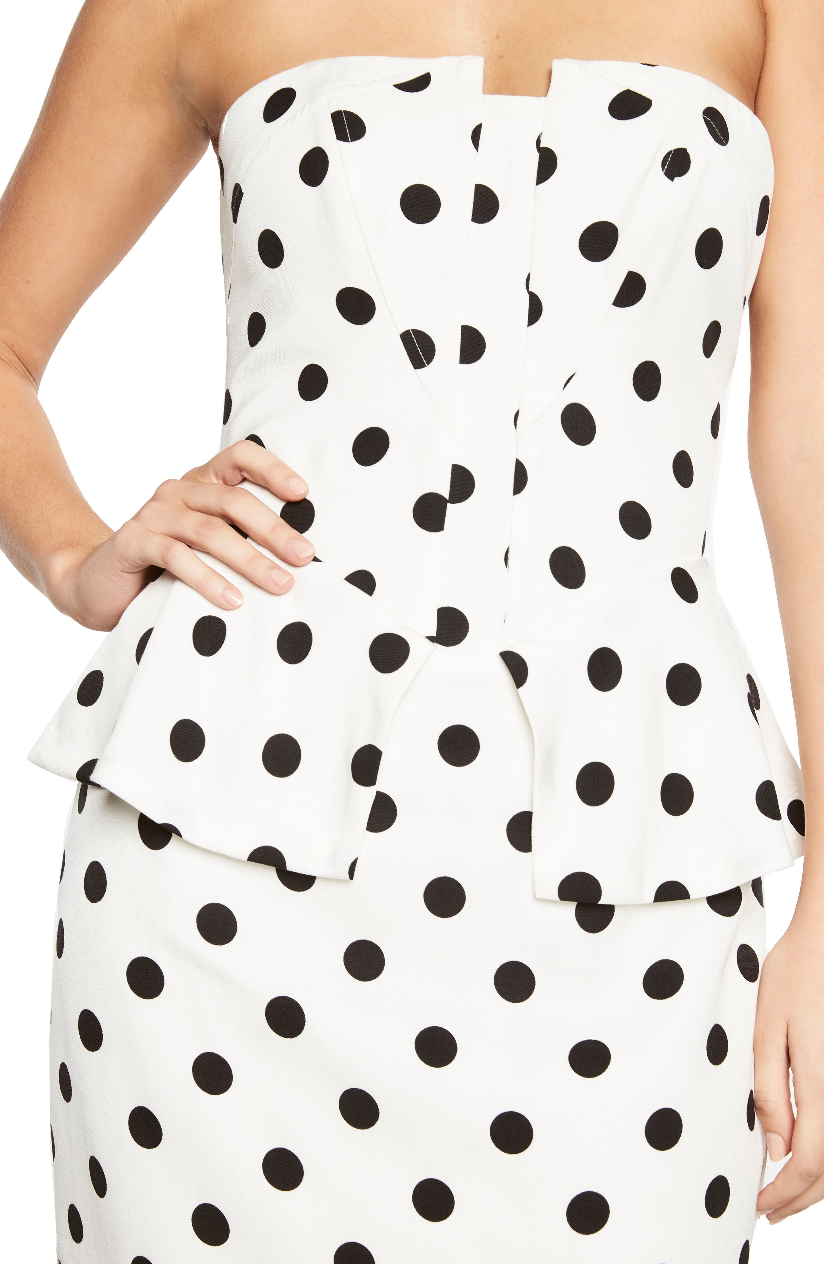 Suri Polka Dot Peplum Dress,                             Alternate thumbnail 5, color,                             White Spot