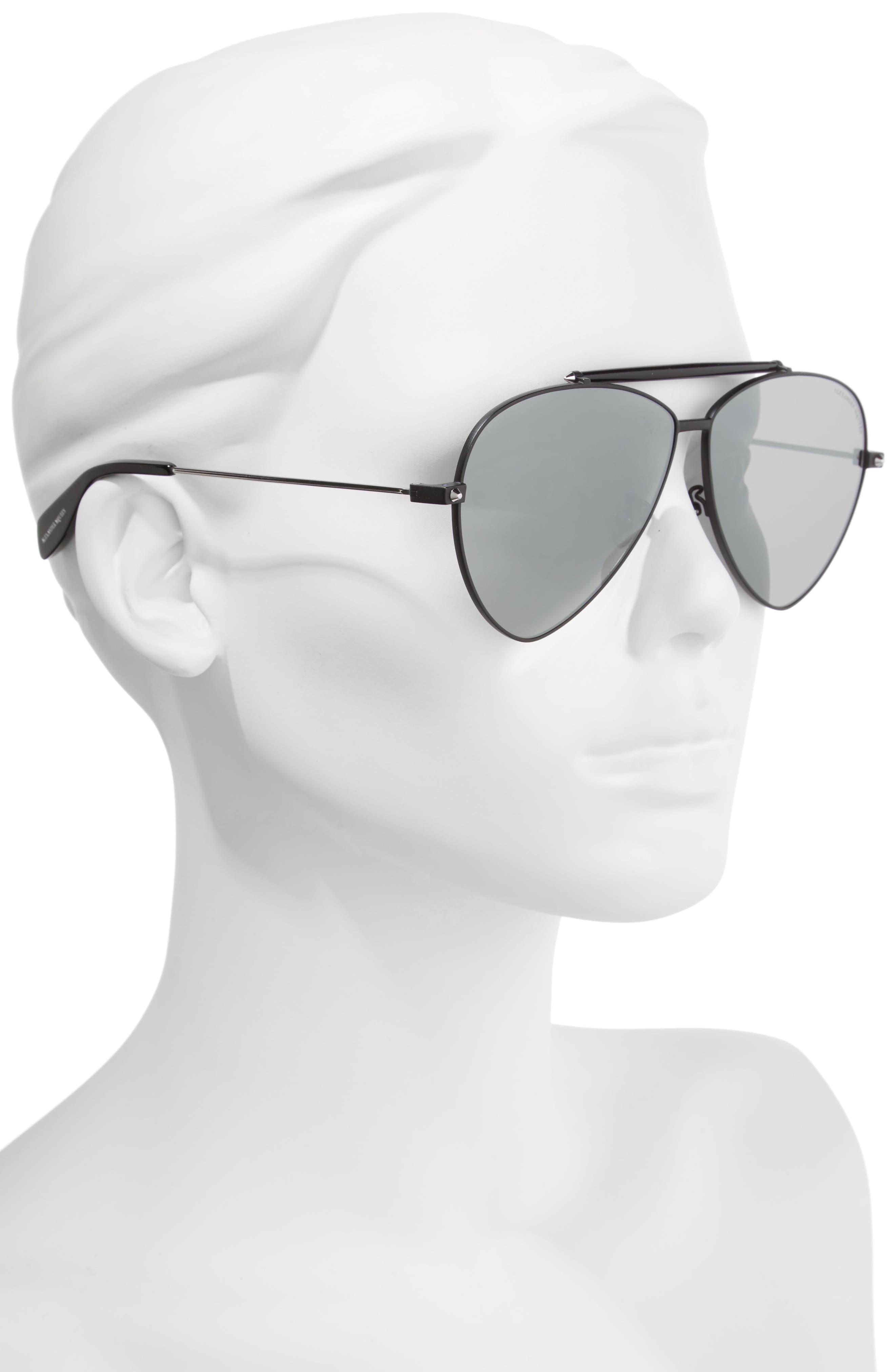 63mm Oversize Aviator Sunglasses,                             Alternate thumbnail 2, color,                             Black