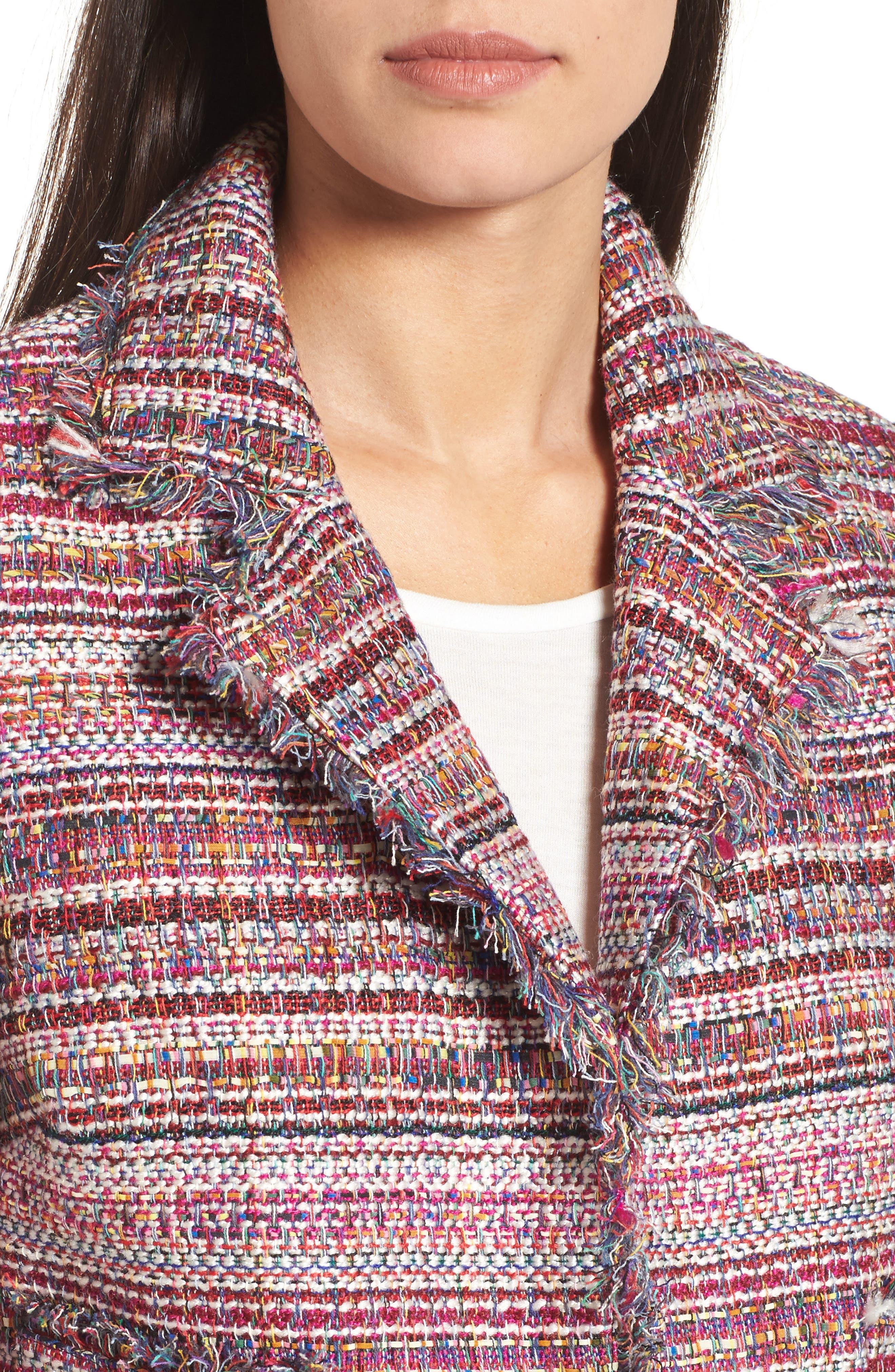 Tweed Open Front Jacket,                             Alternate thumbnail 4, color,                             Red Multi Tweed