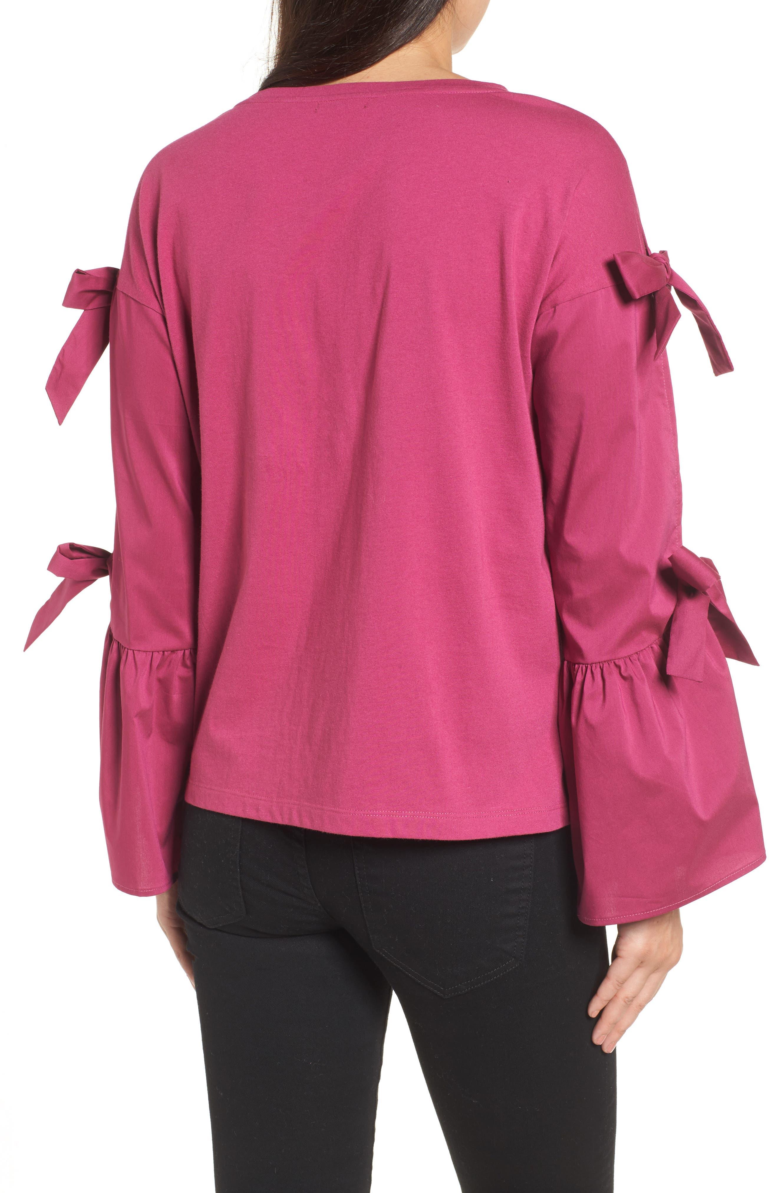 Alternate Image 2  - Halogen® Bow Sleeve Poplin Cotton Top (Regular & Petite)