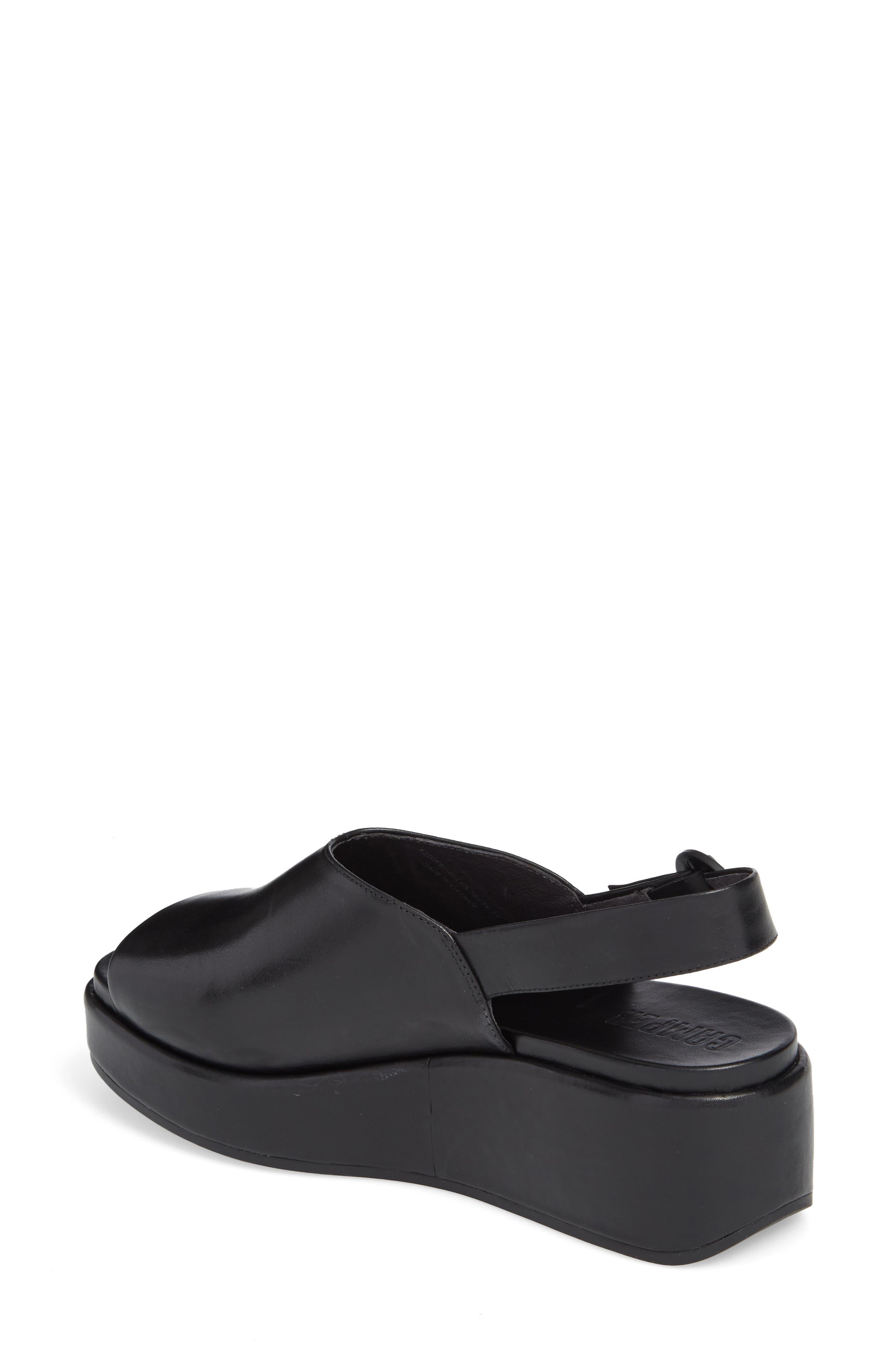 Misia Slingback Platform Wedge Sandal,                             Alternate thumbnail 2, color,                             Black Leather