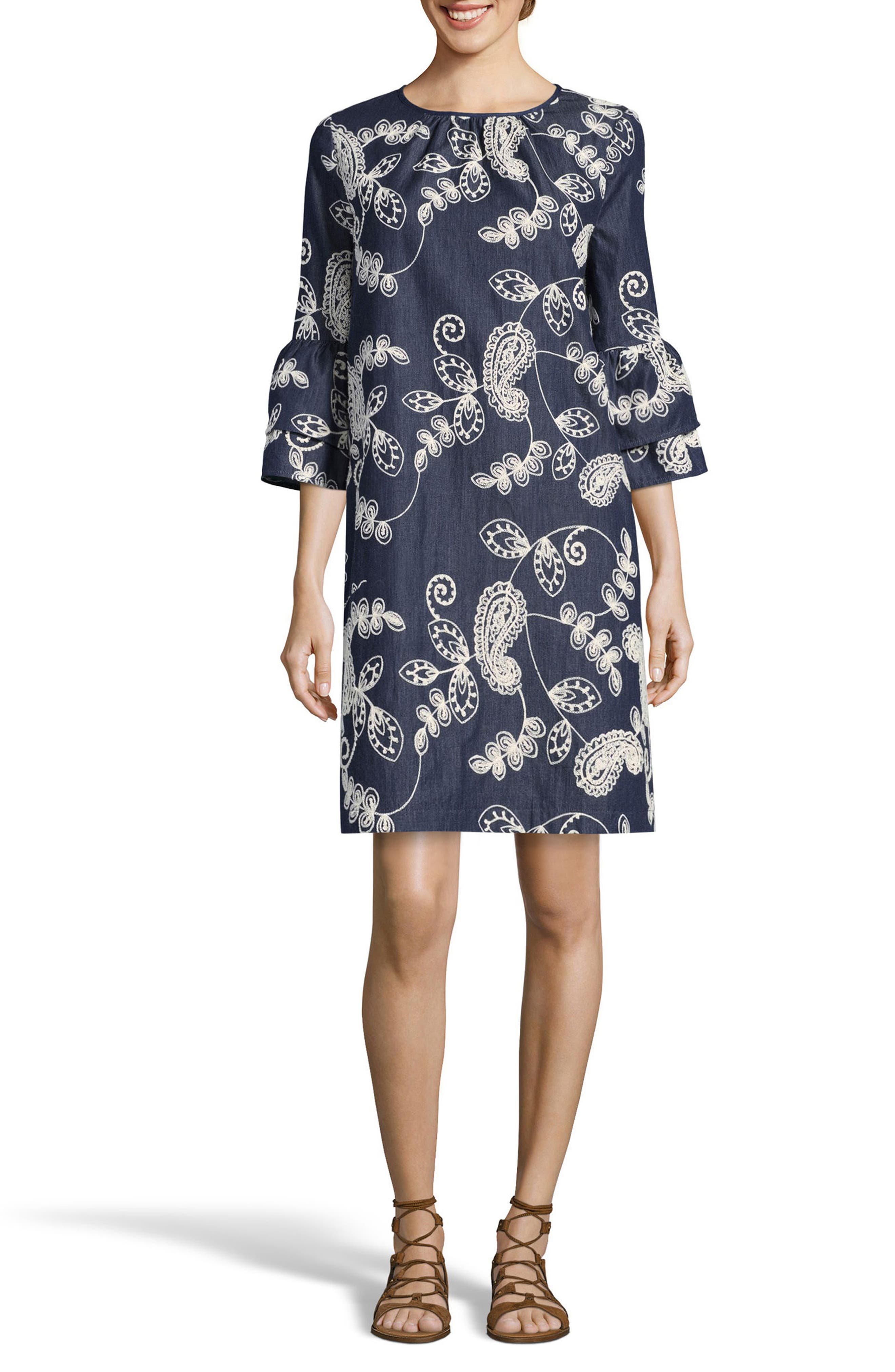 Embroidered Shift Dress,                             Main thumbnail 1, color,                             Denim
