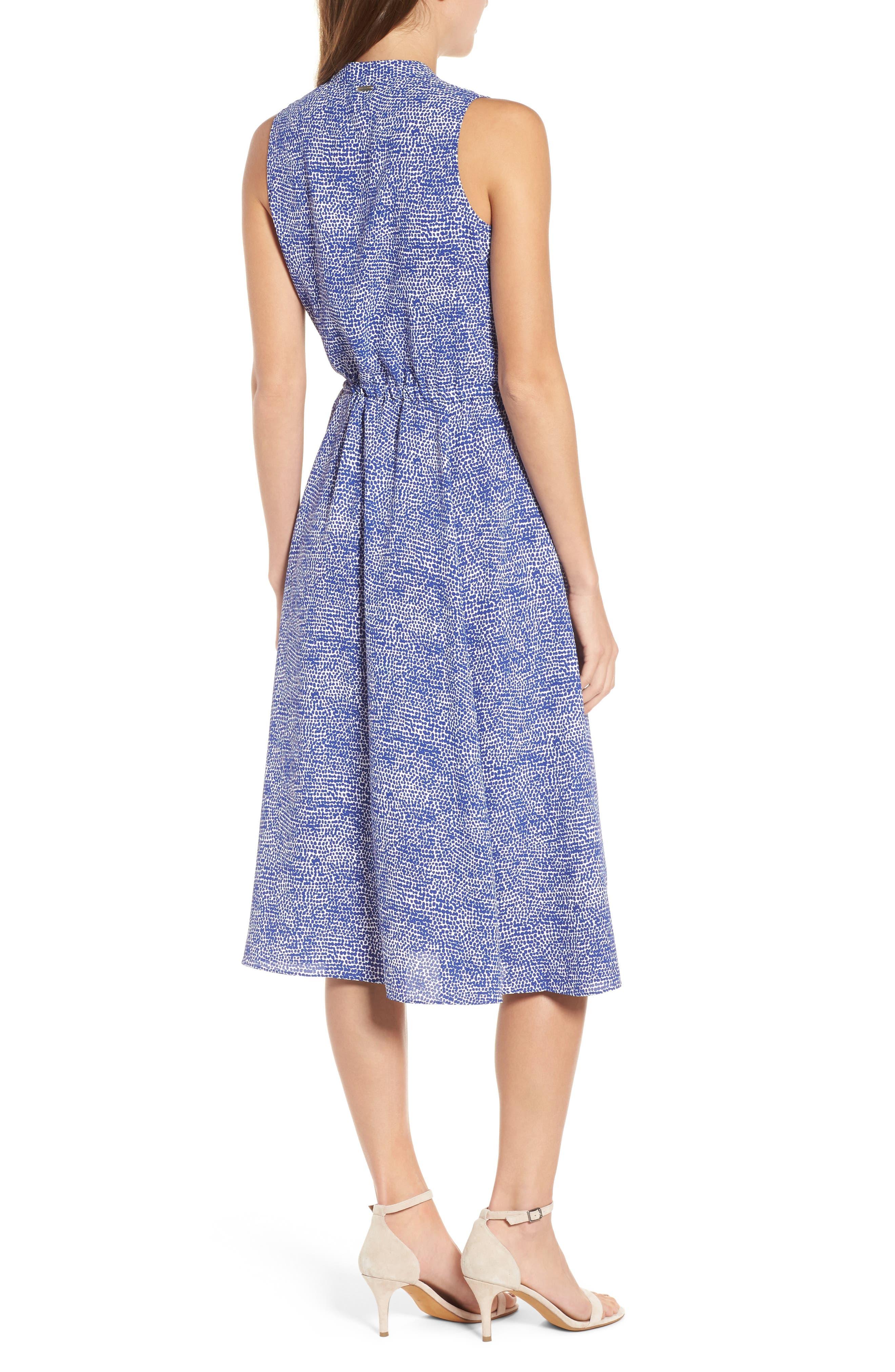 Print Drawstring Midi Dress,                             Alternate thumbnail 2, color,                             O Keefe Blue/ White Combo