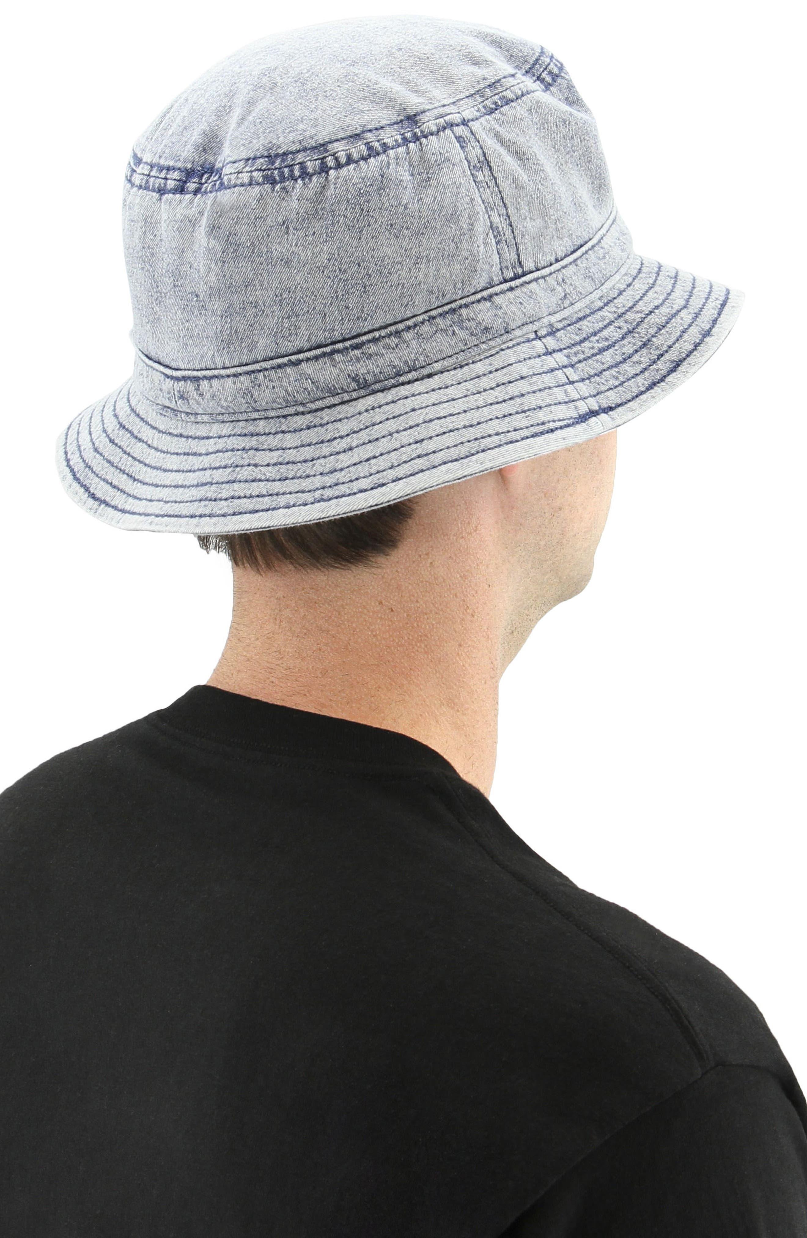 Denim Bucket Hat,                             Alternate thumbnail 2, color,                             Navy/ Black