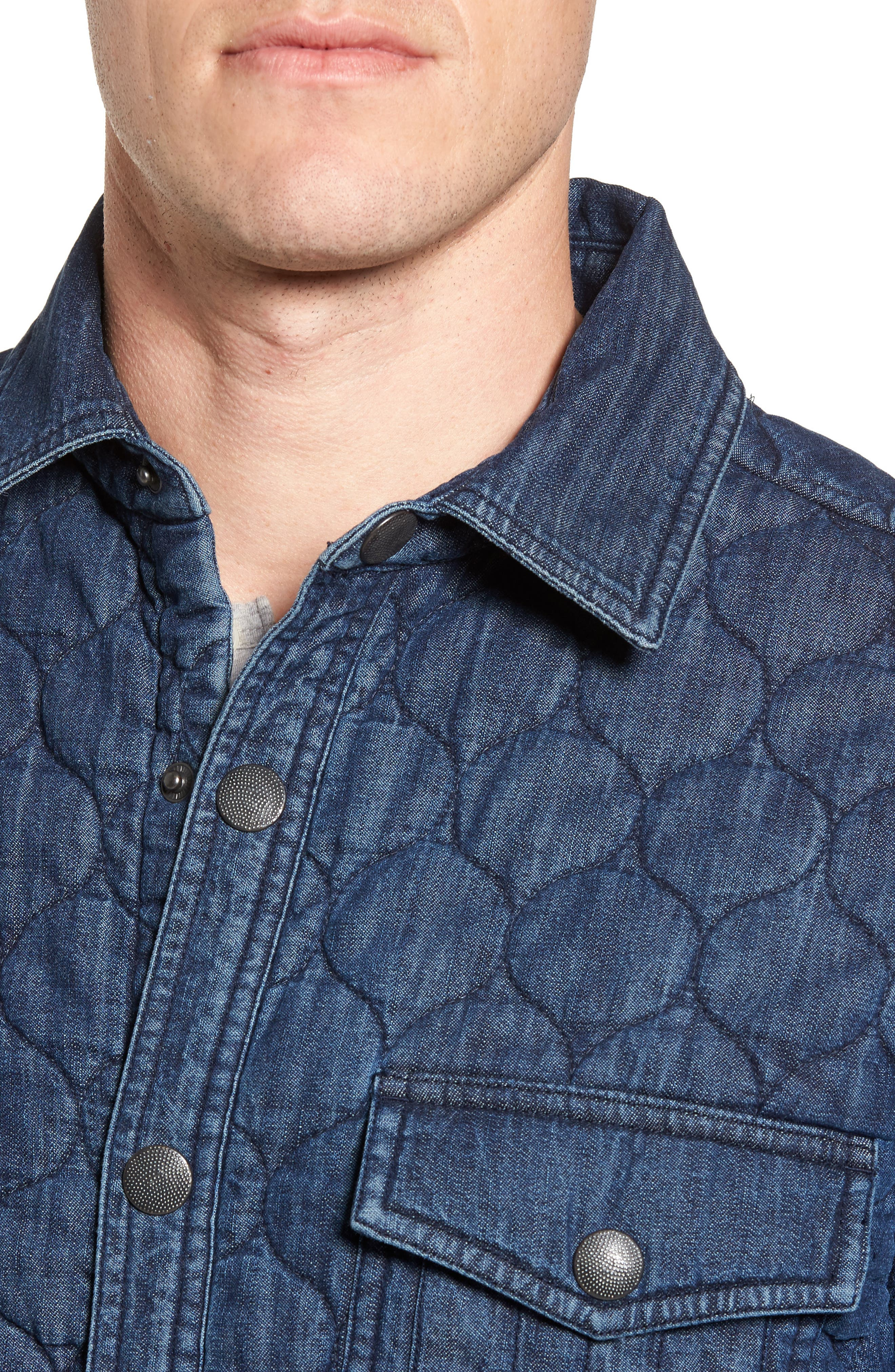 Quilted Denim Shirt Jacket,                             Alternate thumbnail 4, color,                             Navy Iris Indigo