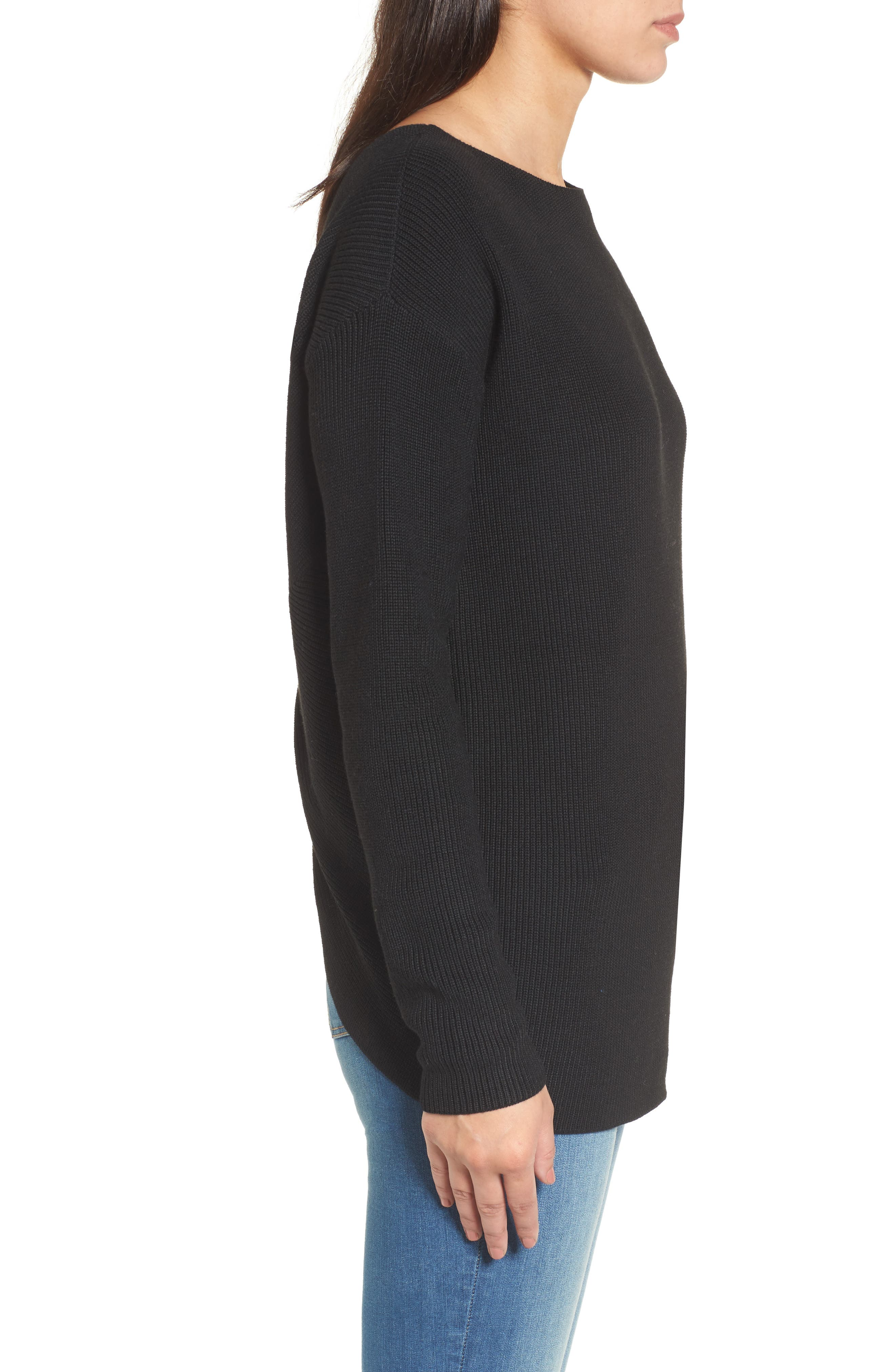 Twist Back Sweater,                             Alternate thumbnail 3, color,                             Black