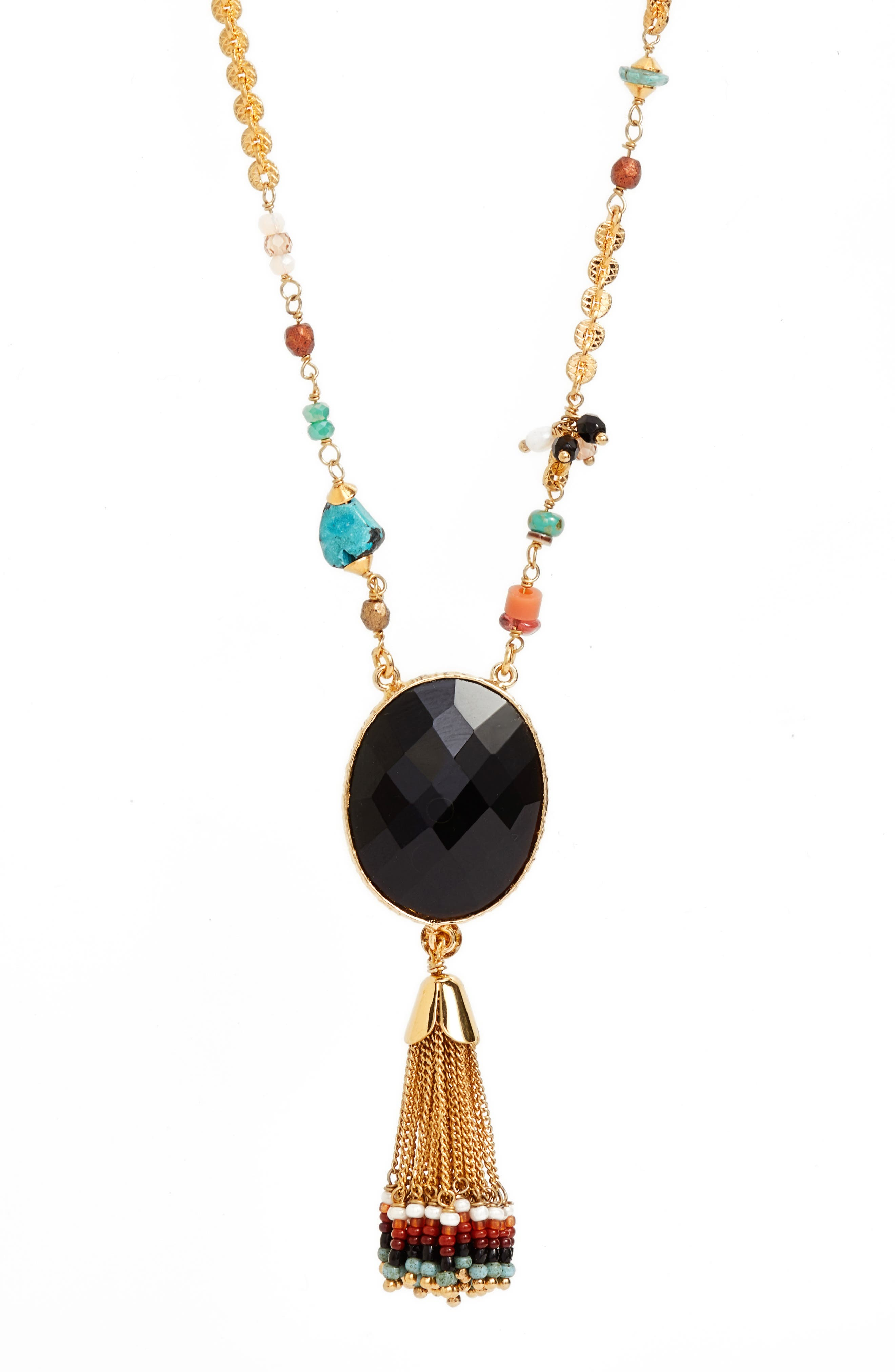 Serti Holly Long Tassel Necklace,                             Alternate thumbnail 2, color,                             Black/ Gold
