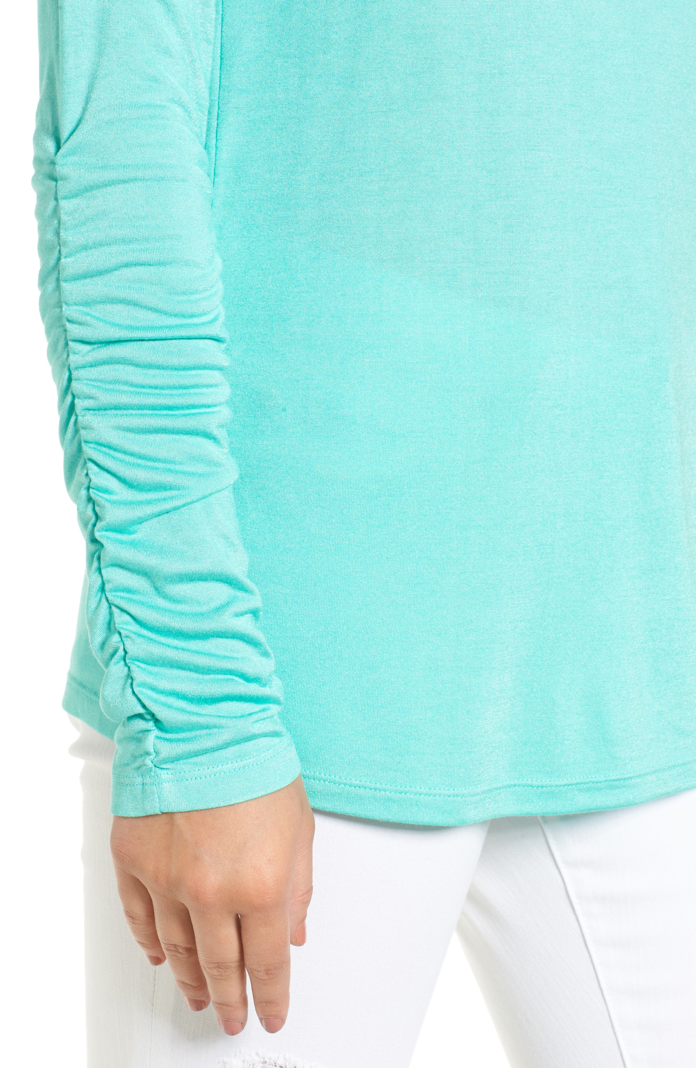 Ruched Sleeve Tee,                             Alternate thumbnail 4, color,                             Green Largo