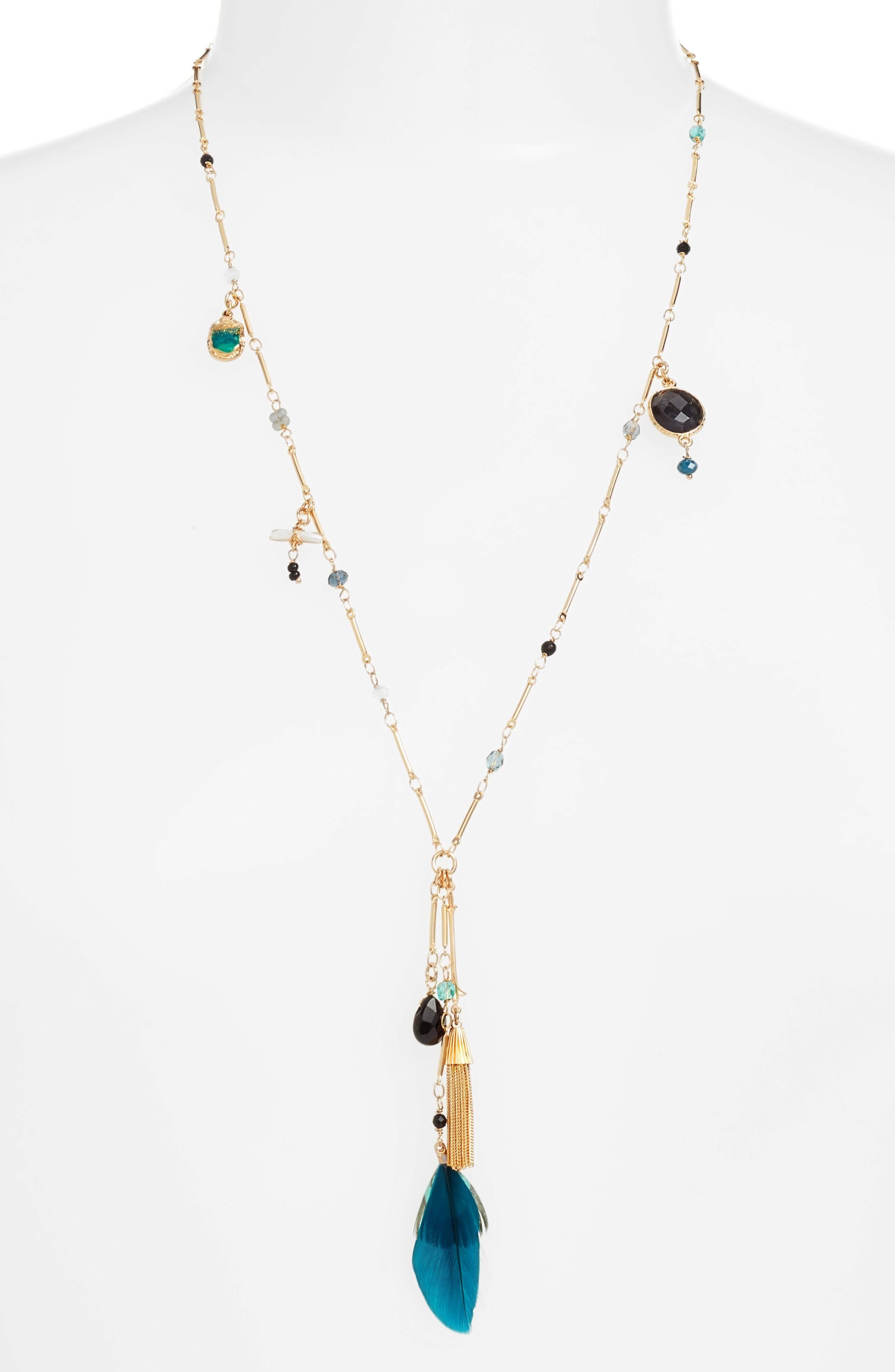 California Pendant Necklace,                             Main thumbnail 1, color,                             Blue Teal/ Gold