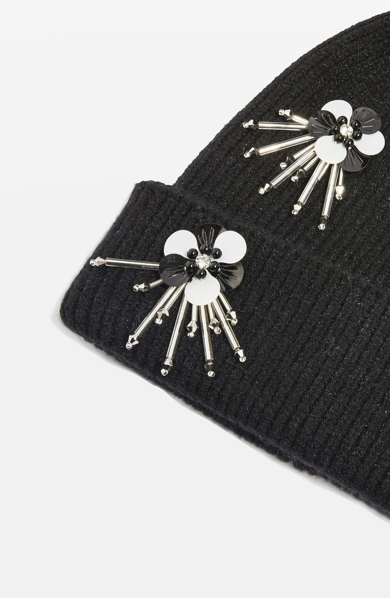 Alternate Image 3  - Topshop Flower Burst Embellished Beanie