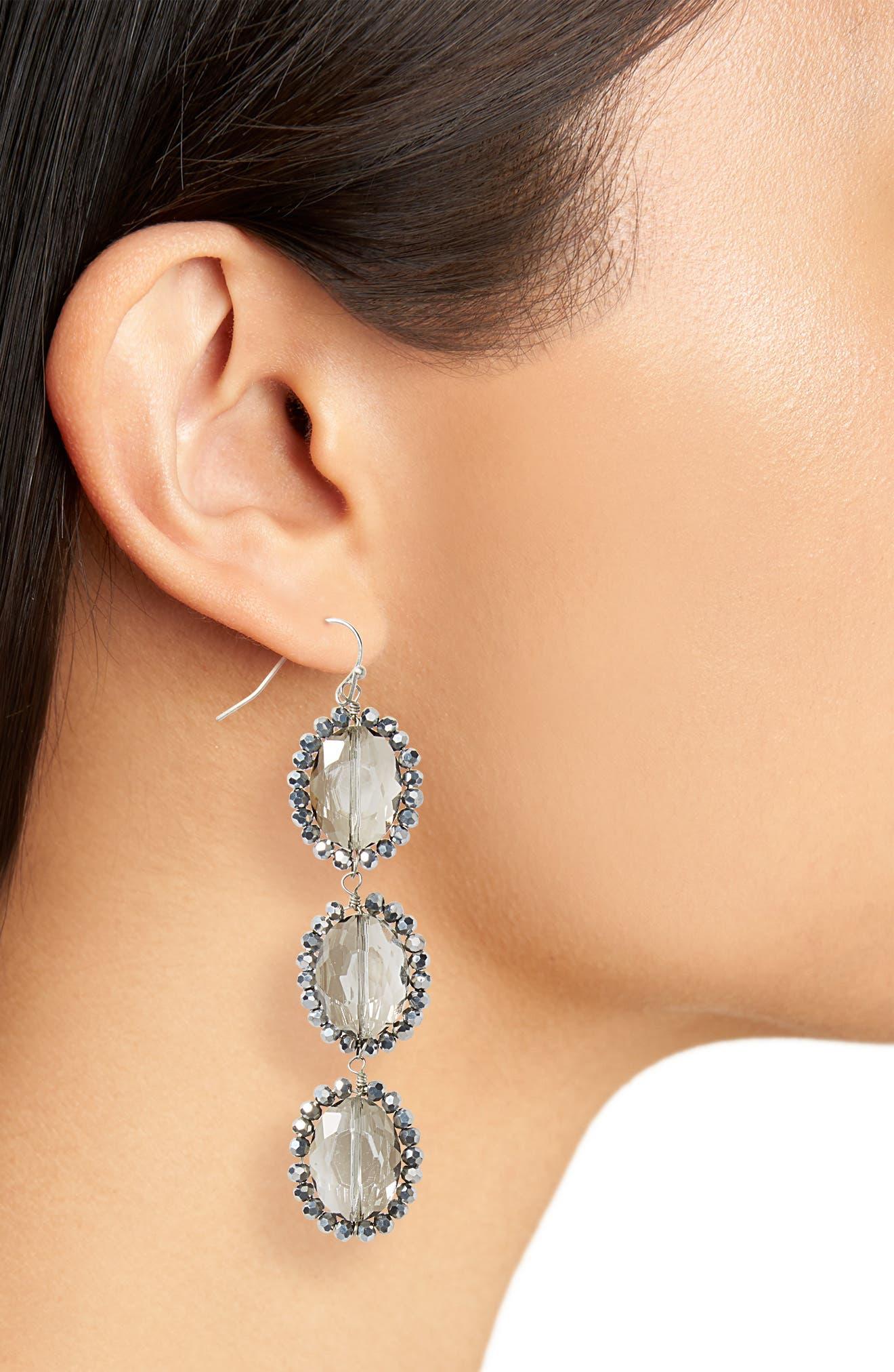 Smoky Crystal Drop Earrings,                             Alternate thumbnail 2, color,                             Smokey