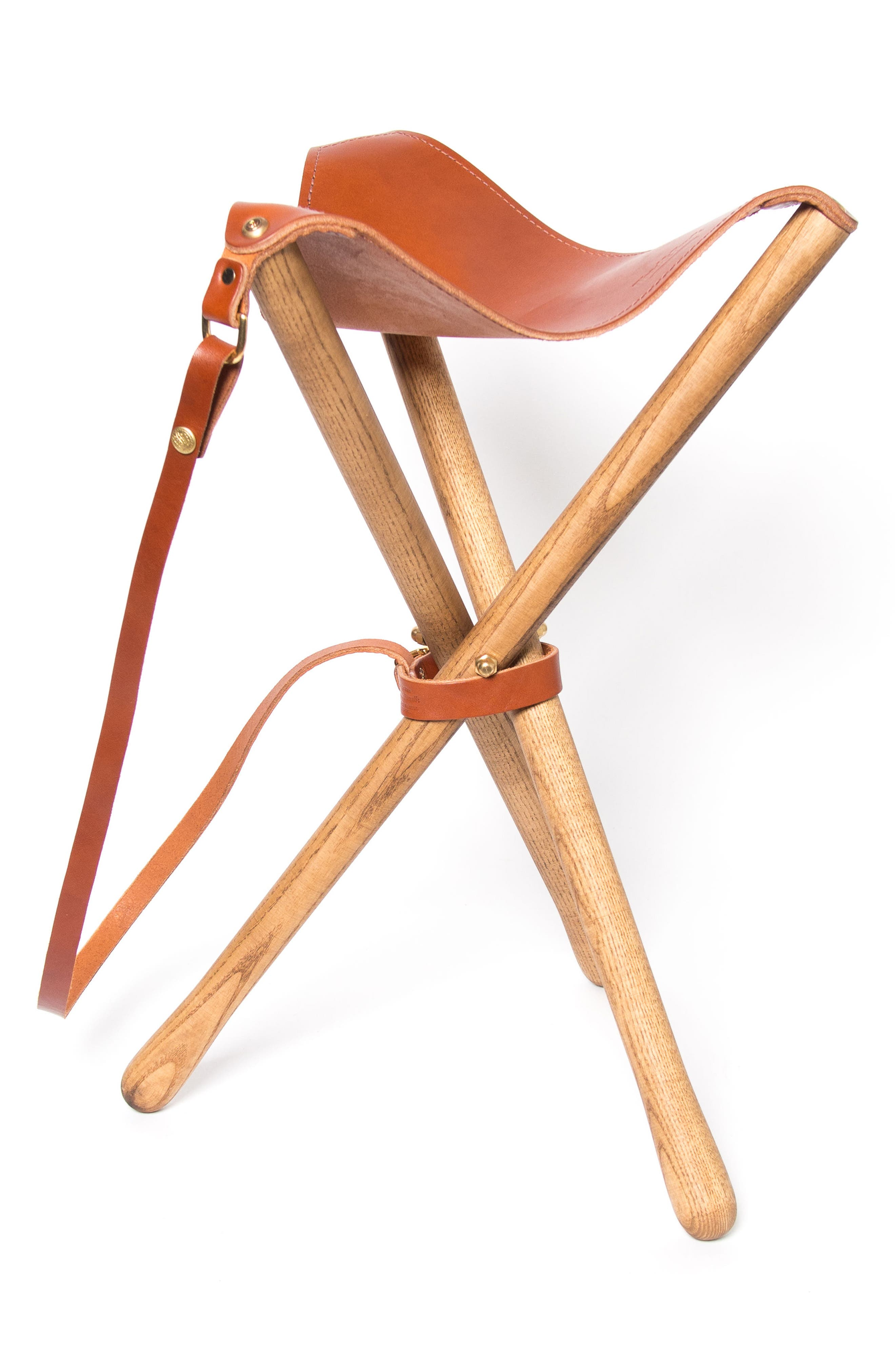 Leather Camp Stool,                         Main,                         color, Chestnut
